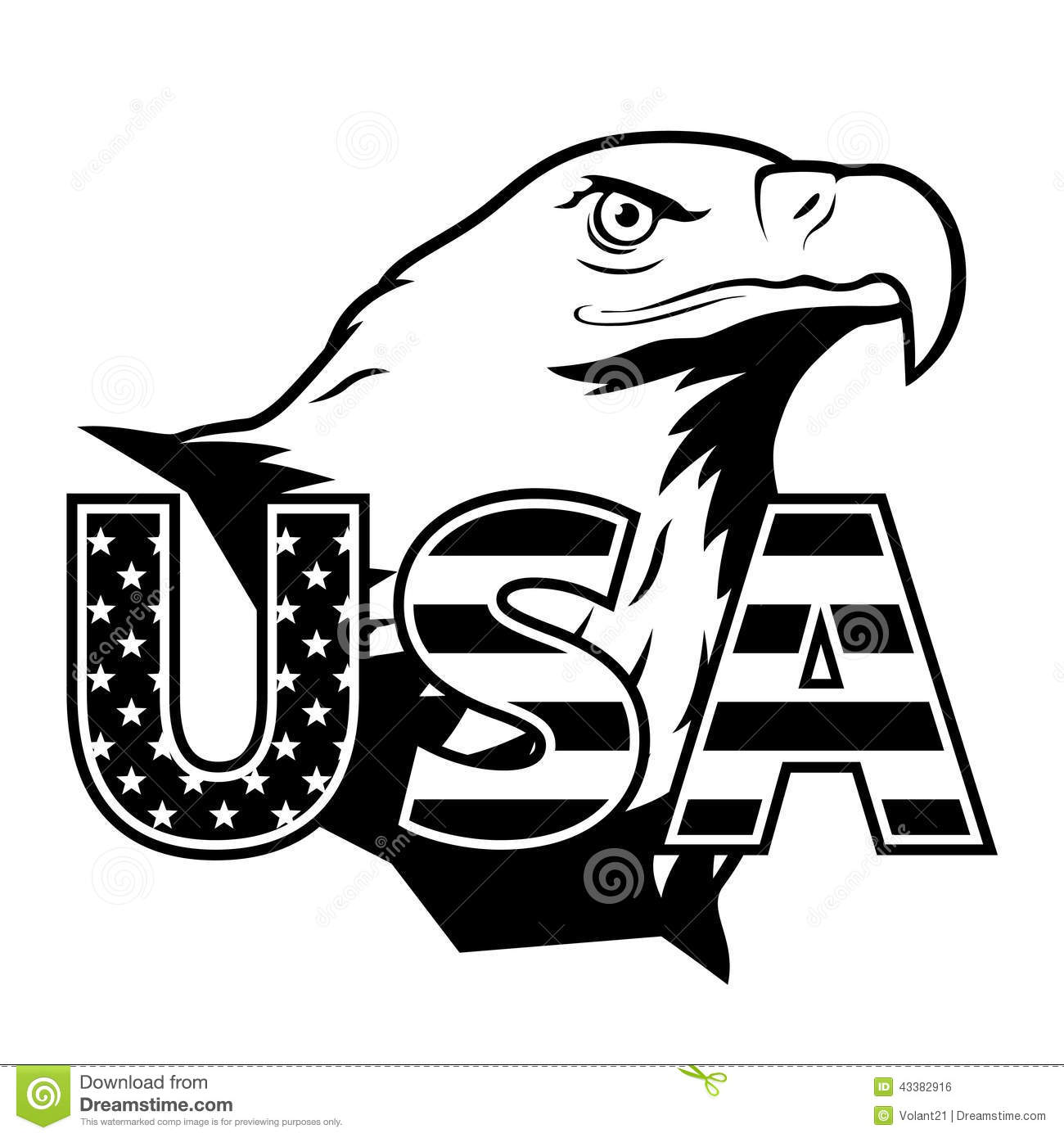 American Eagle With Usa Stylized Lettering Stock Vector