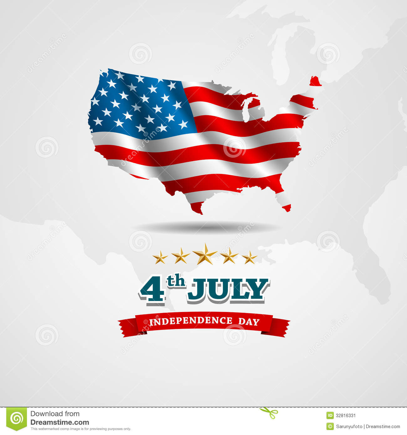 American Flag Map For Independence Day Stock Image Image