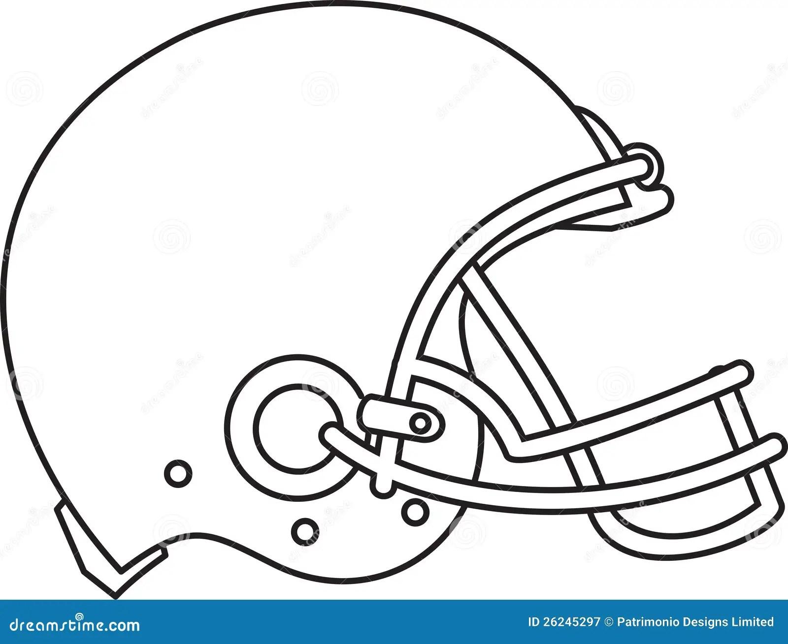 American Football Helmet Line Drawing Royalty Free Stock
