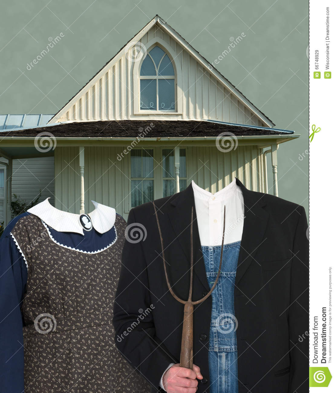 American Gothic Painting Spoof Template Stock Image