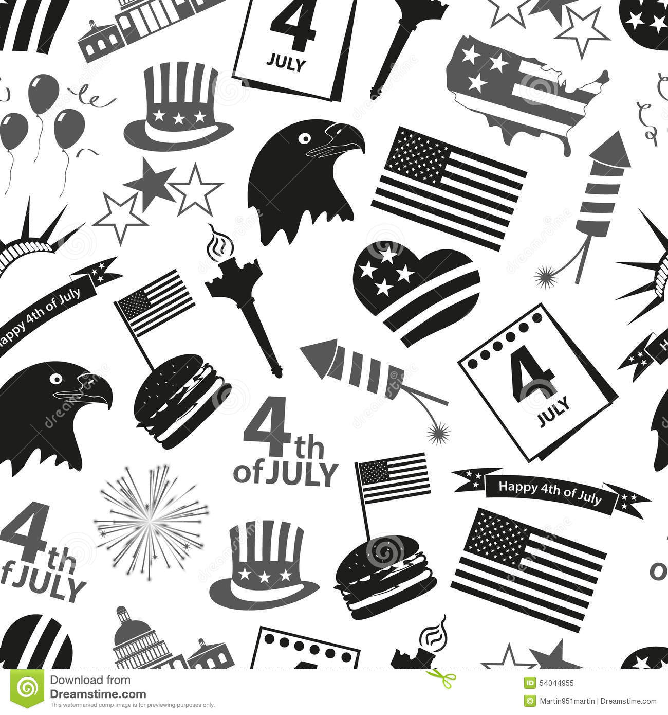 American Symbols And Icons Seamless Pattern Vector
