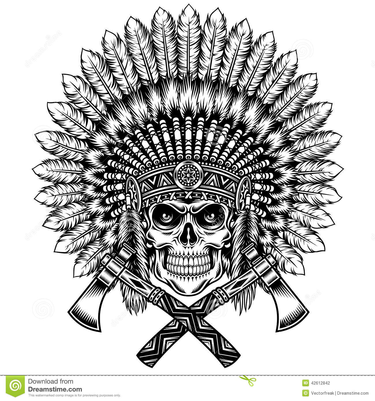 American Indian Chief Skull With Tomahawk Stock Vector