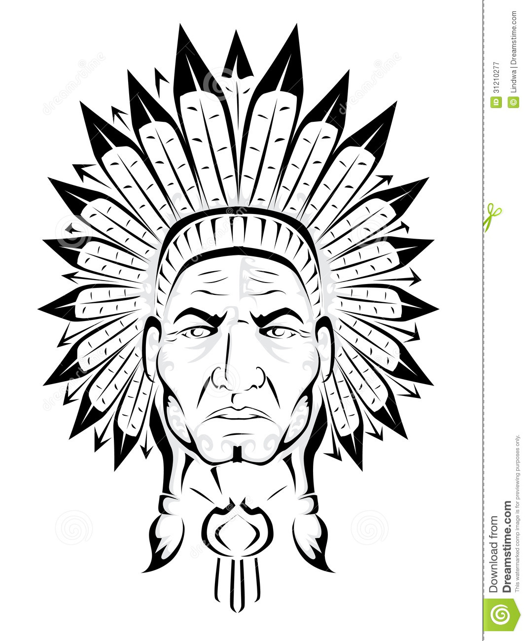 American Indian Chief Stock Vector Illustration Of