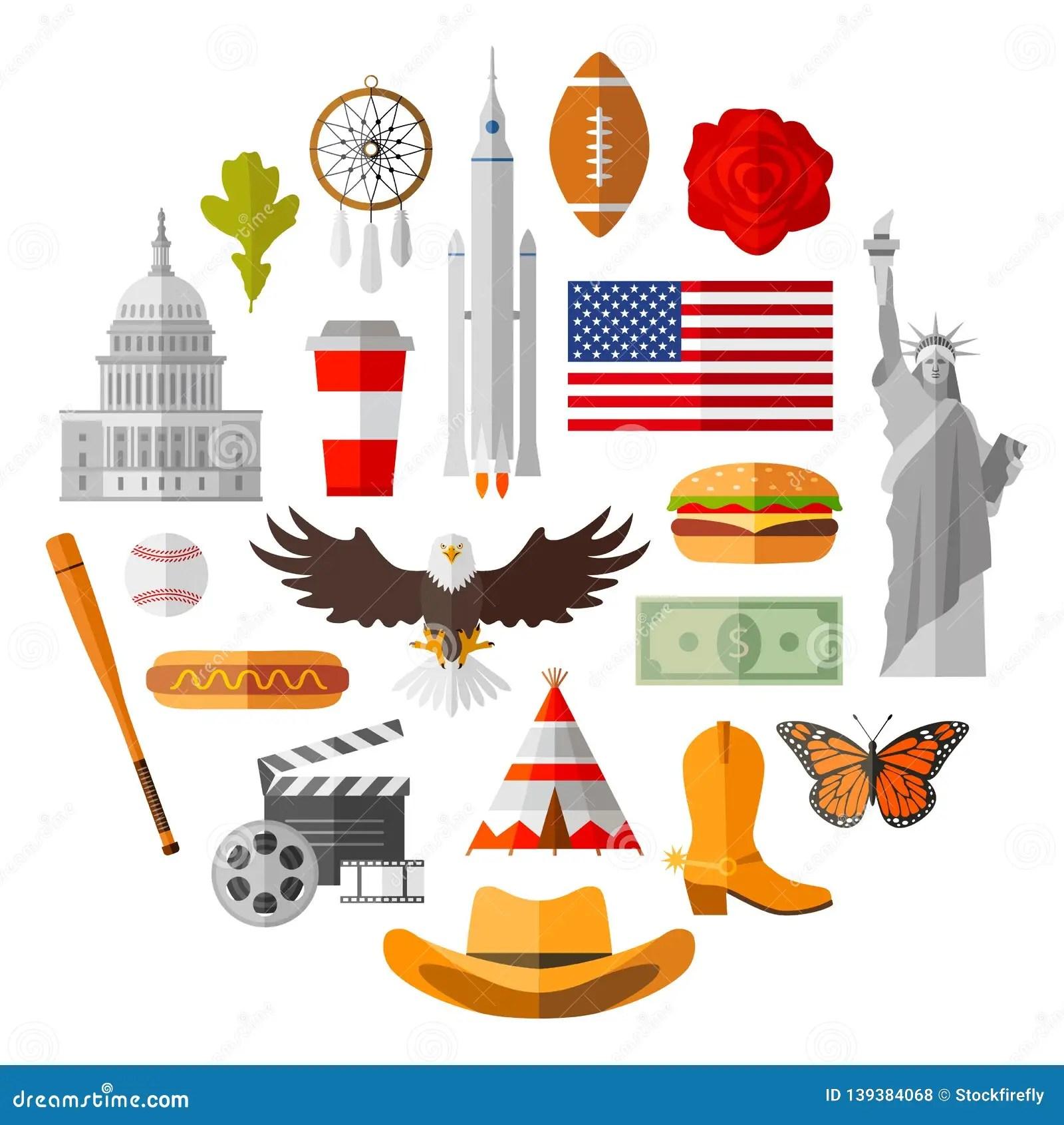 American Vector Icons Traditional Usa National Symbols