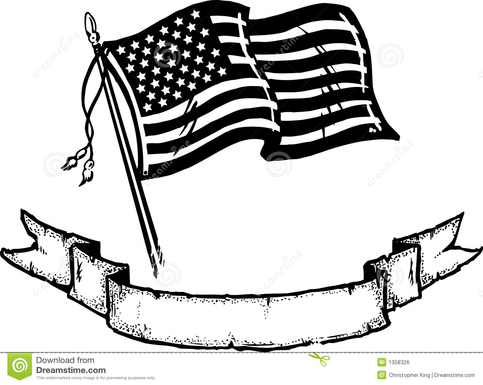 Amerikaanse Vlag Amp Banner Vector Illustratie