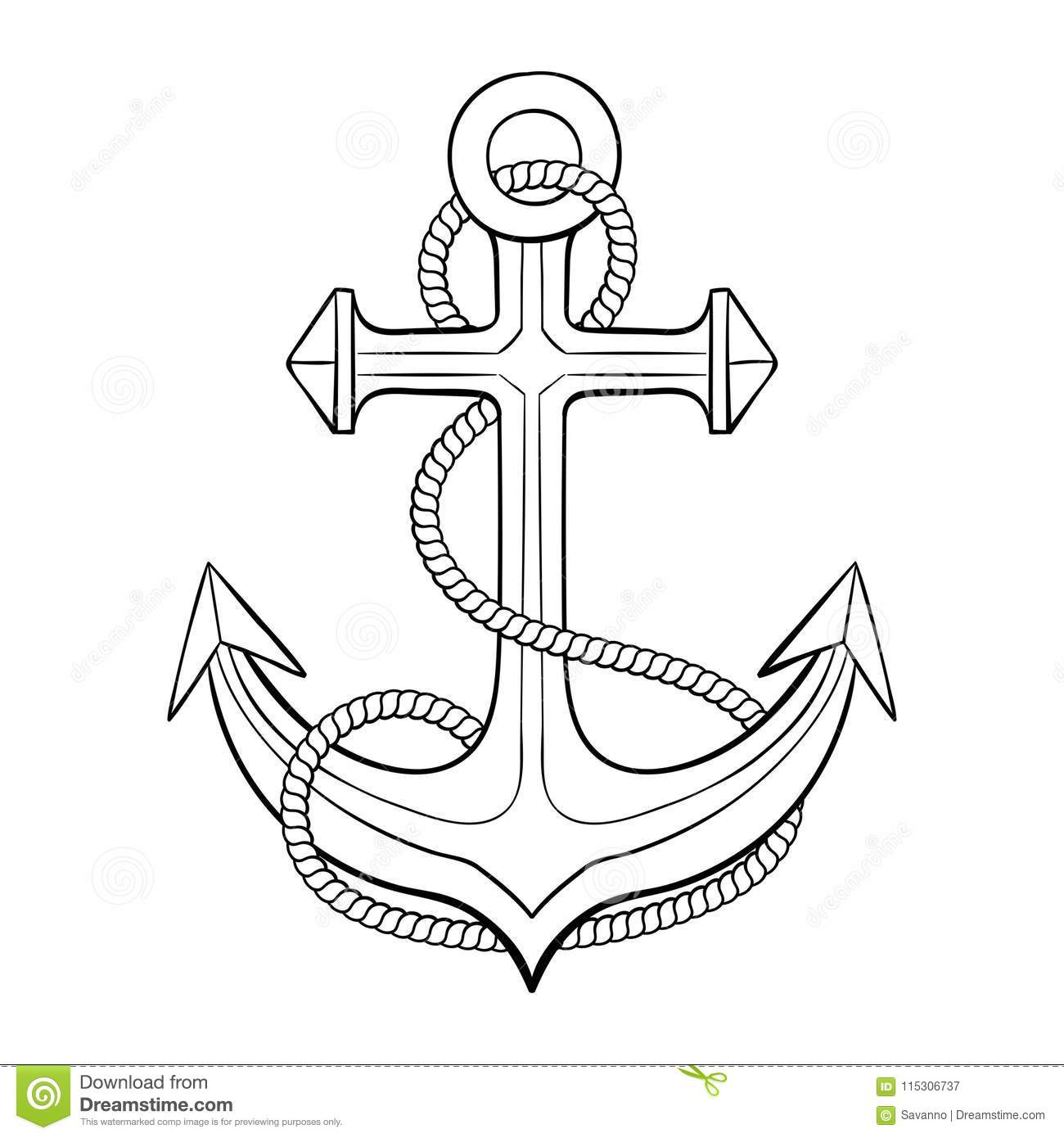 Anchor With Rope Outline Drawing Stock Vector