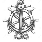 Anchor And Ship Wheel Tattoo In Engraving Style Vector Illustration Stock Vector Illustration Of Helm Antique 166749422