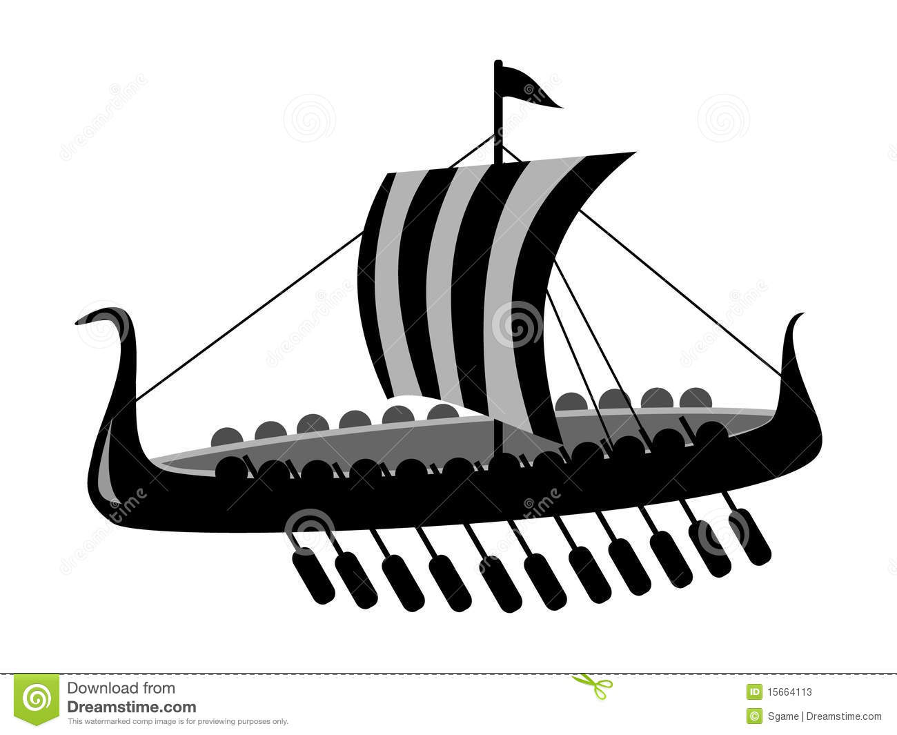 Ancient Battle Ship Stock Vector Illustration Of
