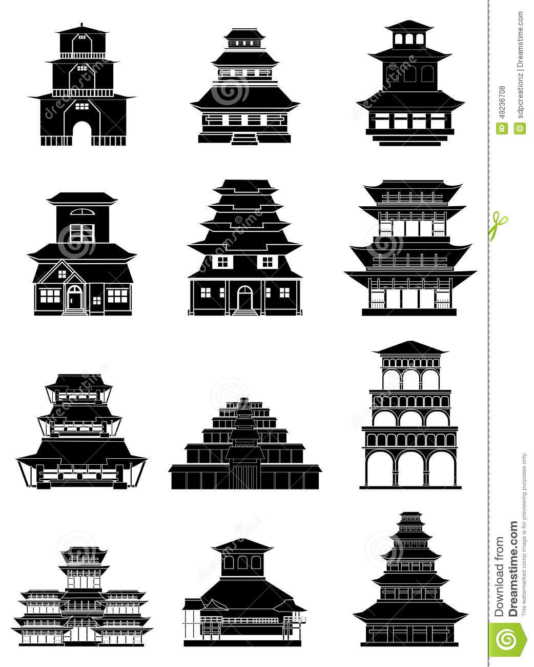 Ancient Chinese Buildings Icons Set Stock Vector