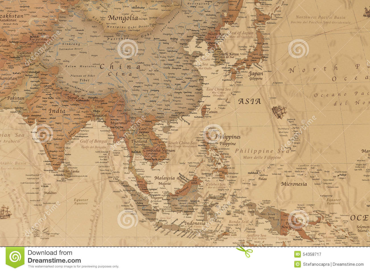 Ancient Geographic Map Of Asia Stock Photo