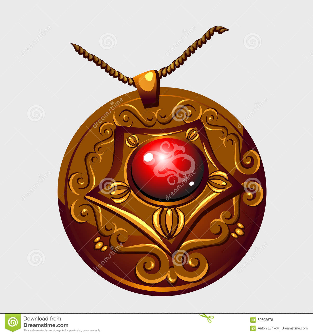 Ancient Golden Amulet Pendant With Red Stone Stock Vector