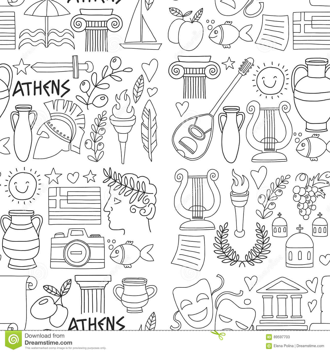 Ancient Greece Vector Elements In Doodle Style For