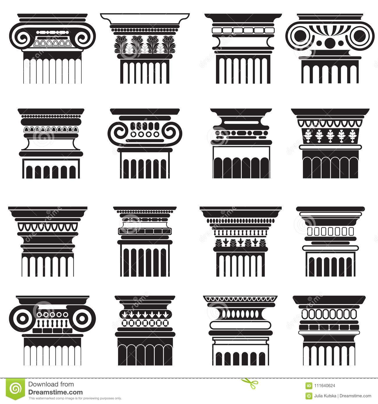 Vector Ancient Greek Roma Column Capitals Silhouette Set