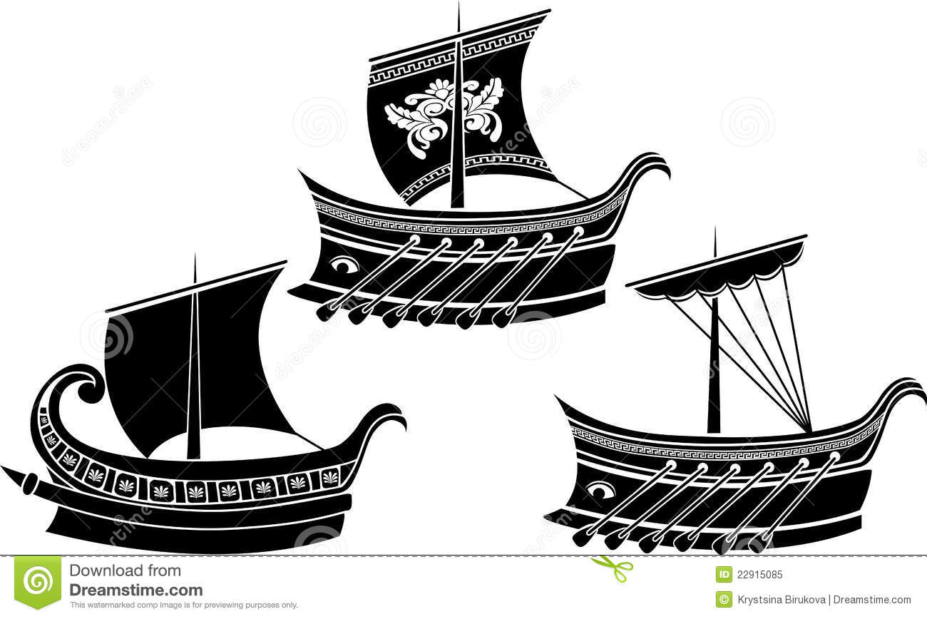 Ancient Greek Ship Set Stock Vector Image Of Ionian