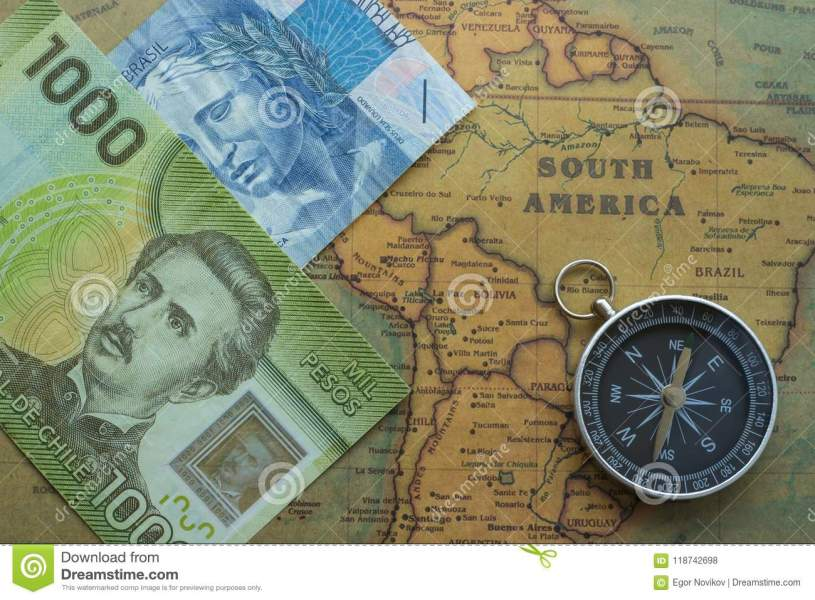 Ancient Map Of South America With Brazilian  Chilei Money And     Download Ancient Map Of South America With Brazilian  Chilei Money And  Compass  Close