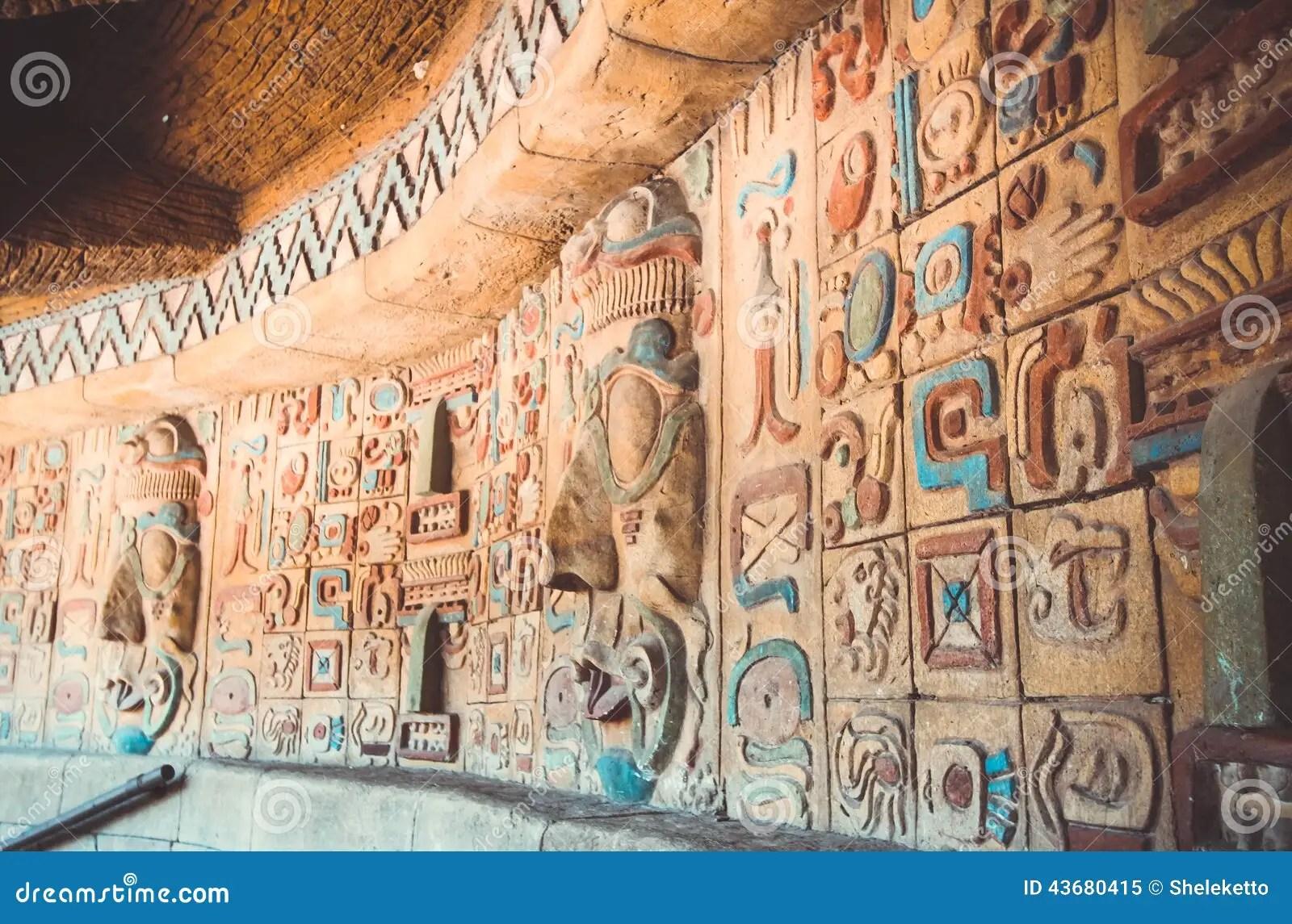 Ancient Maya And Aztecs Pattern Stock Image
