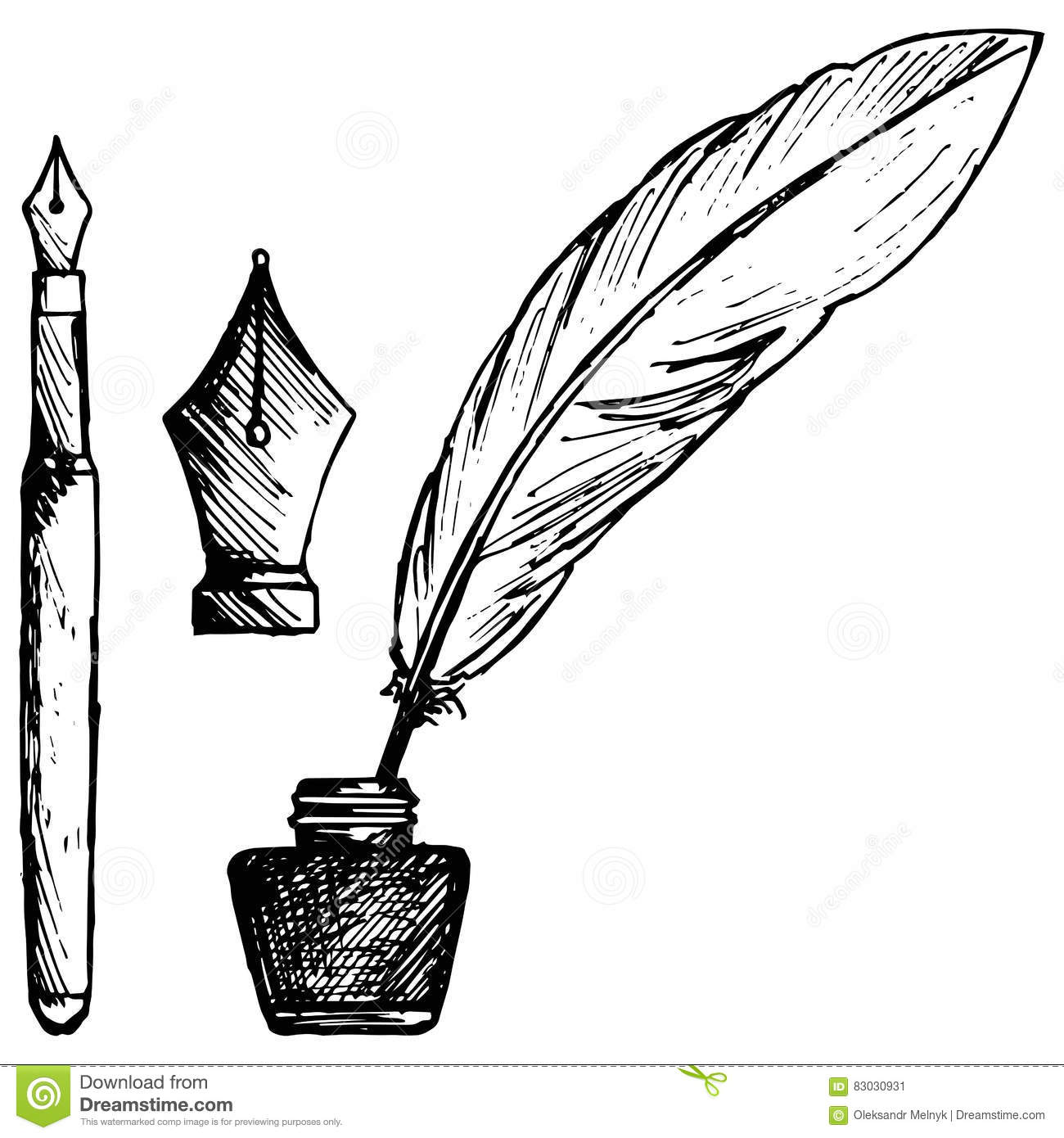 Ancient Pen Inkwell And Old Ink Pen Stock Vector