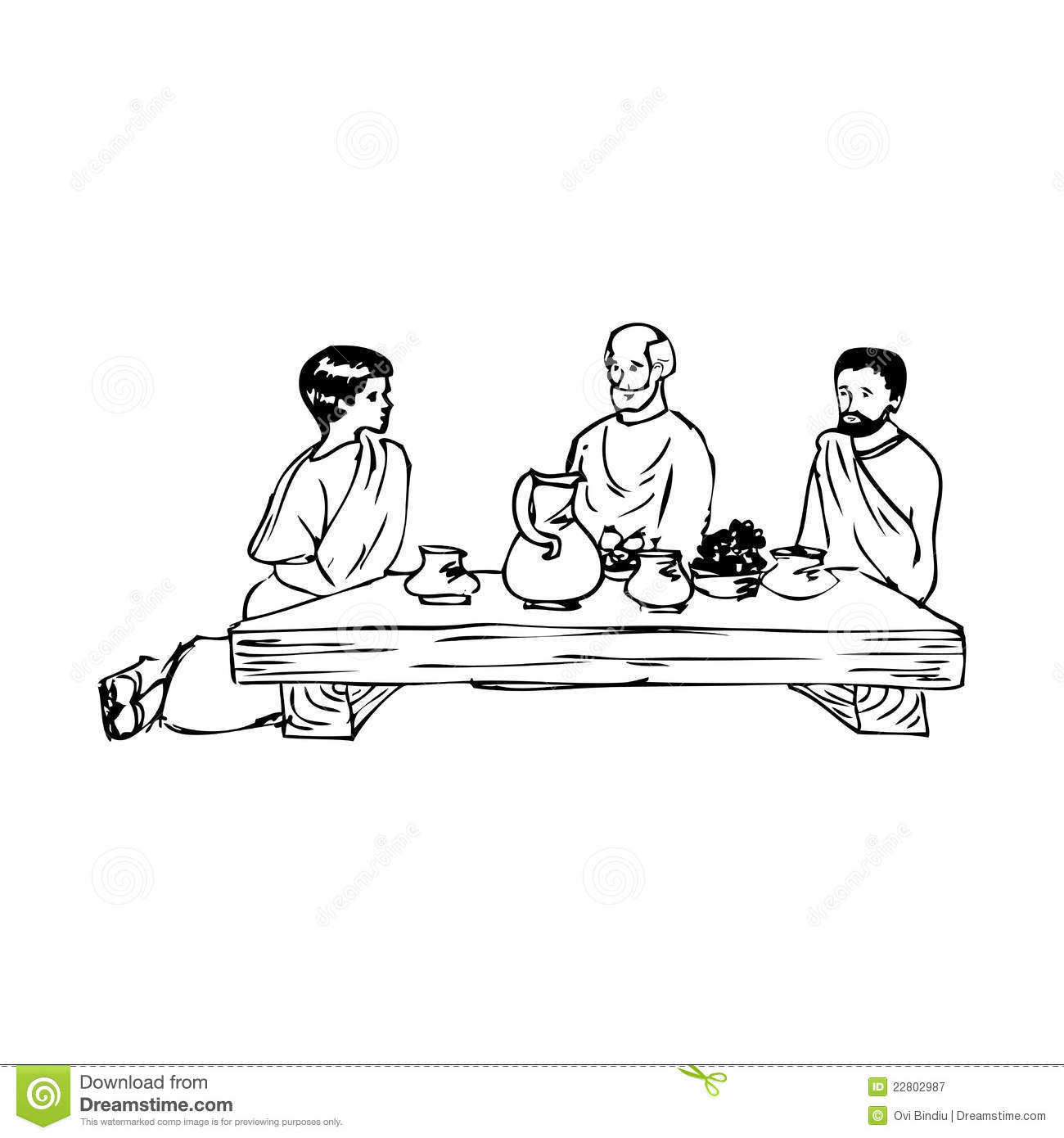 Ancient People Eating At The Table Royalty Free Stock