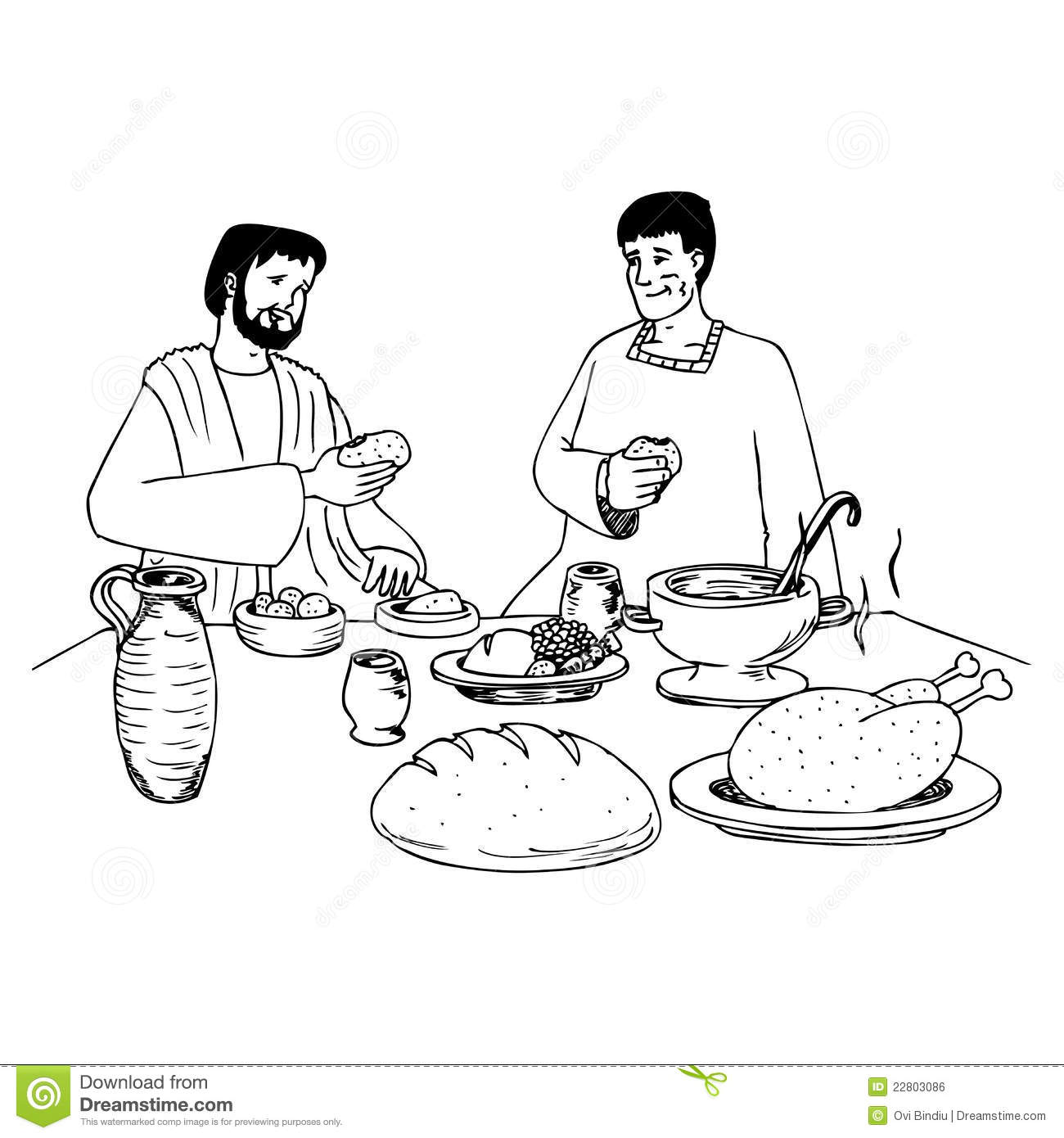 Ancient People Eating At The Table Stock Illustration