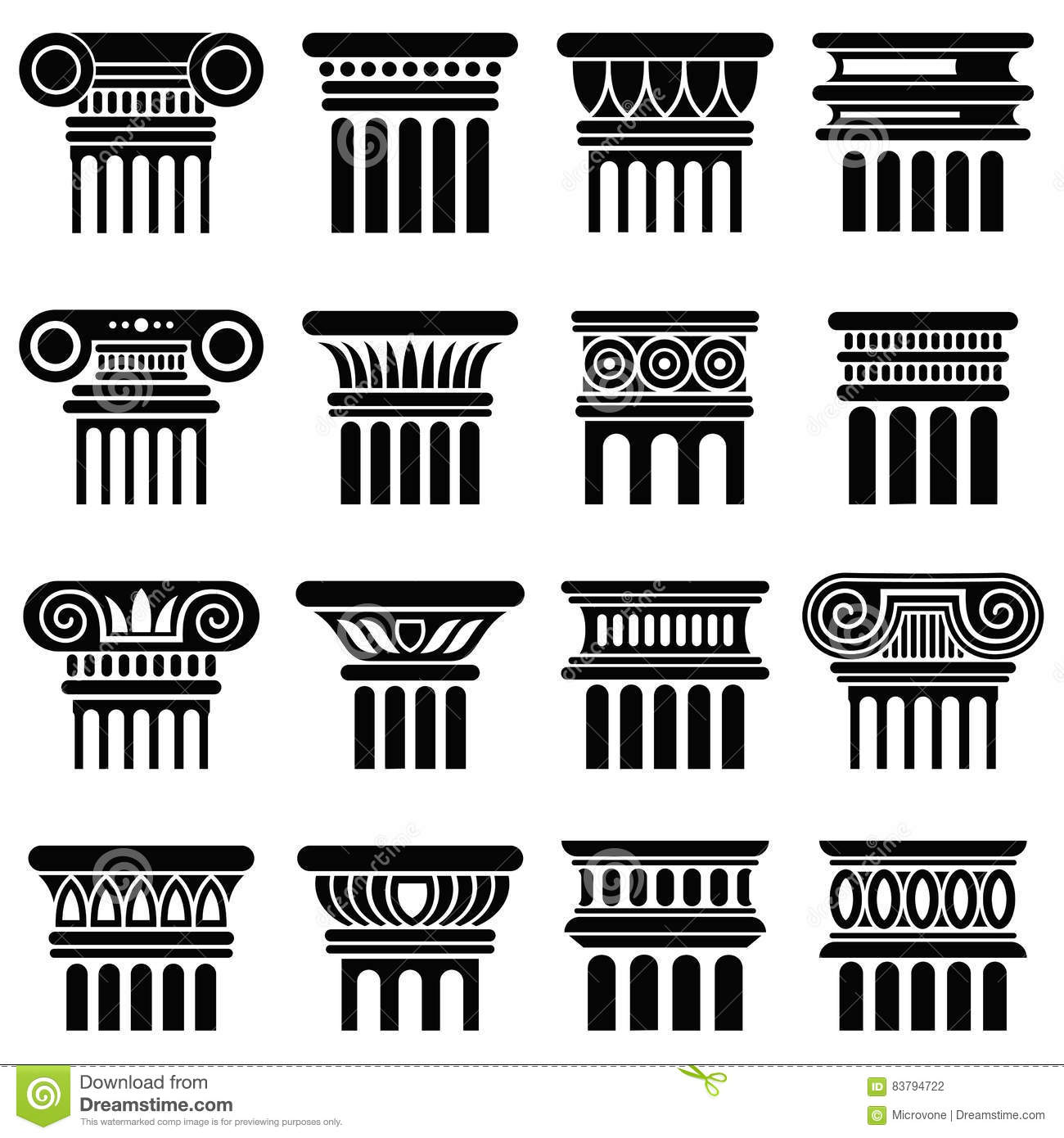 Ancient Rome Architecture Column Vector Icons Stock Vector