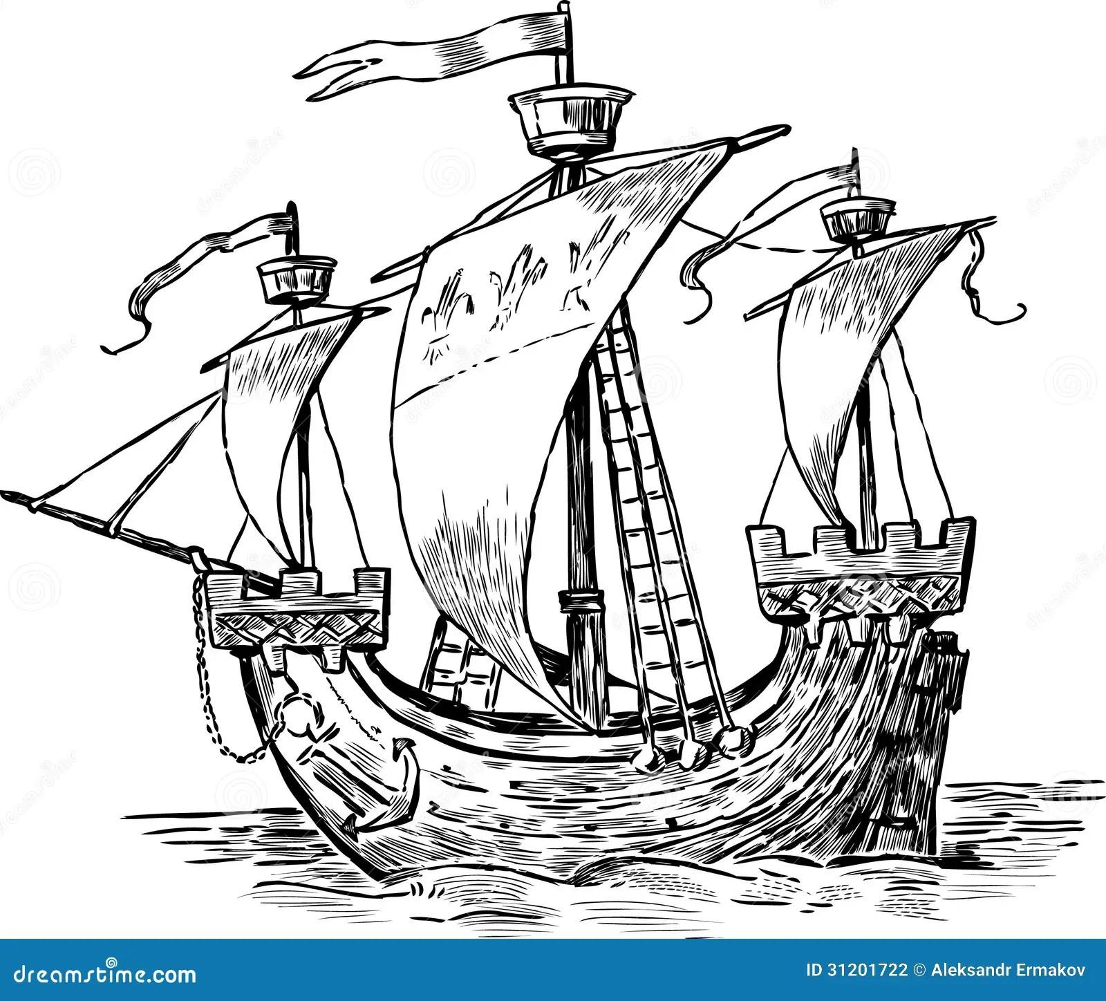 Ancient Sailboat Stock Photography