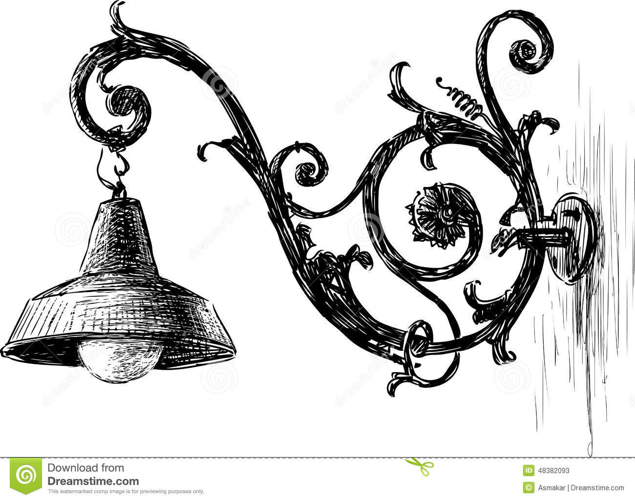 Ancient Street Lamp Stock Vector Illustration Of Classic
