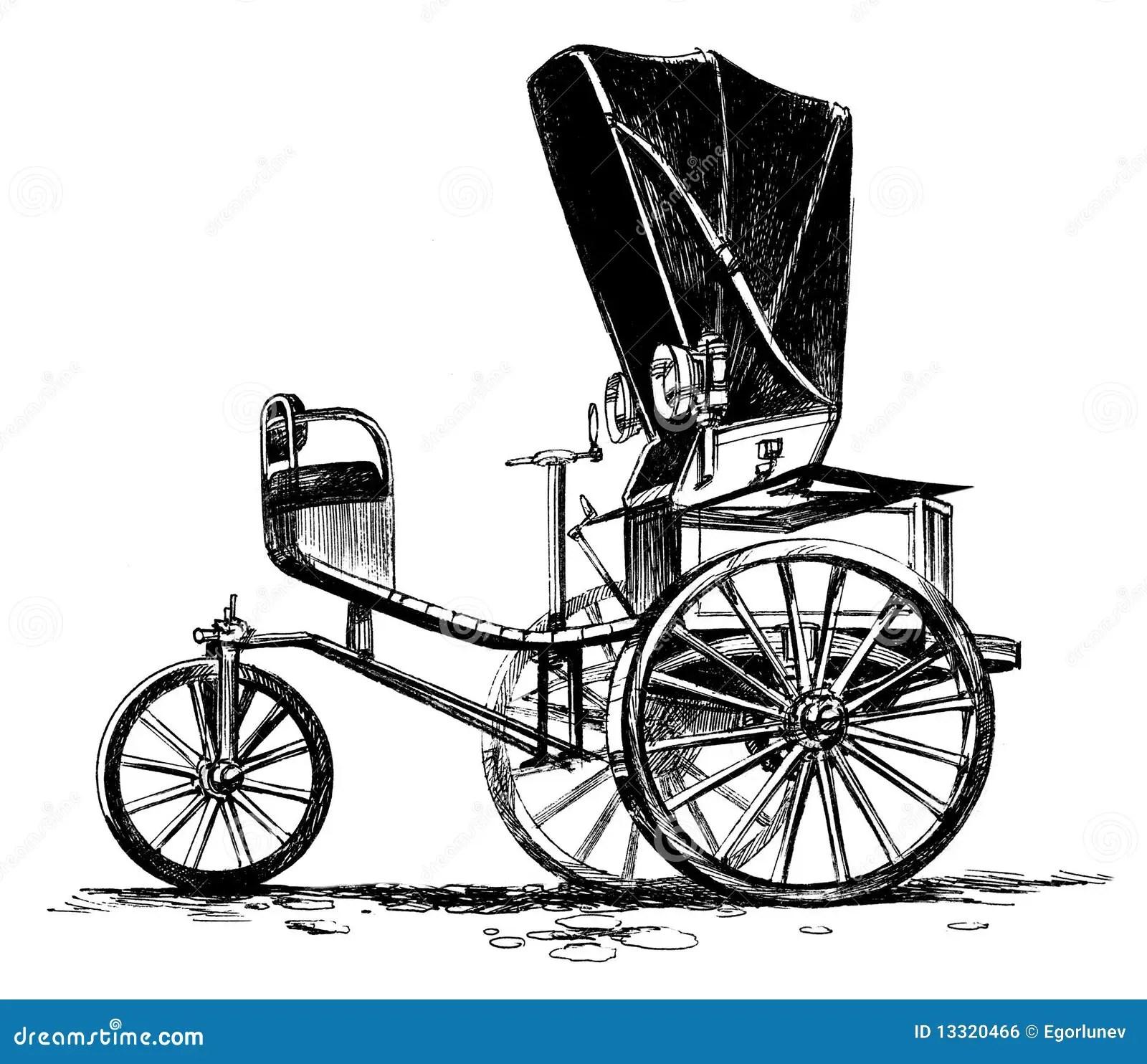 Ancient Three Wheeled Car Stock Illustration Image Of
