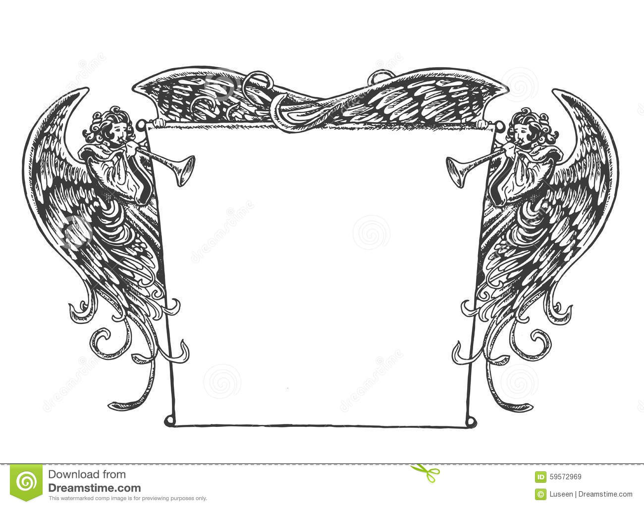Frame With Cherub In Vintage Style Royalty Free Stock