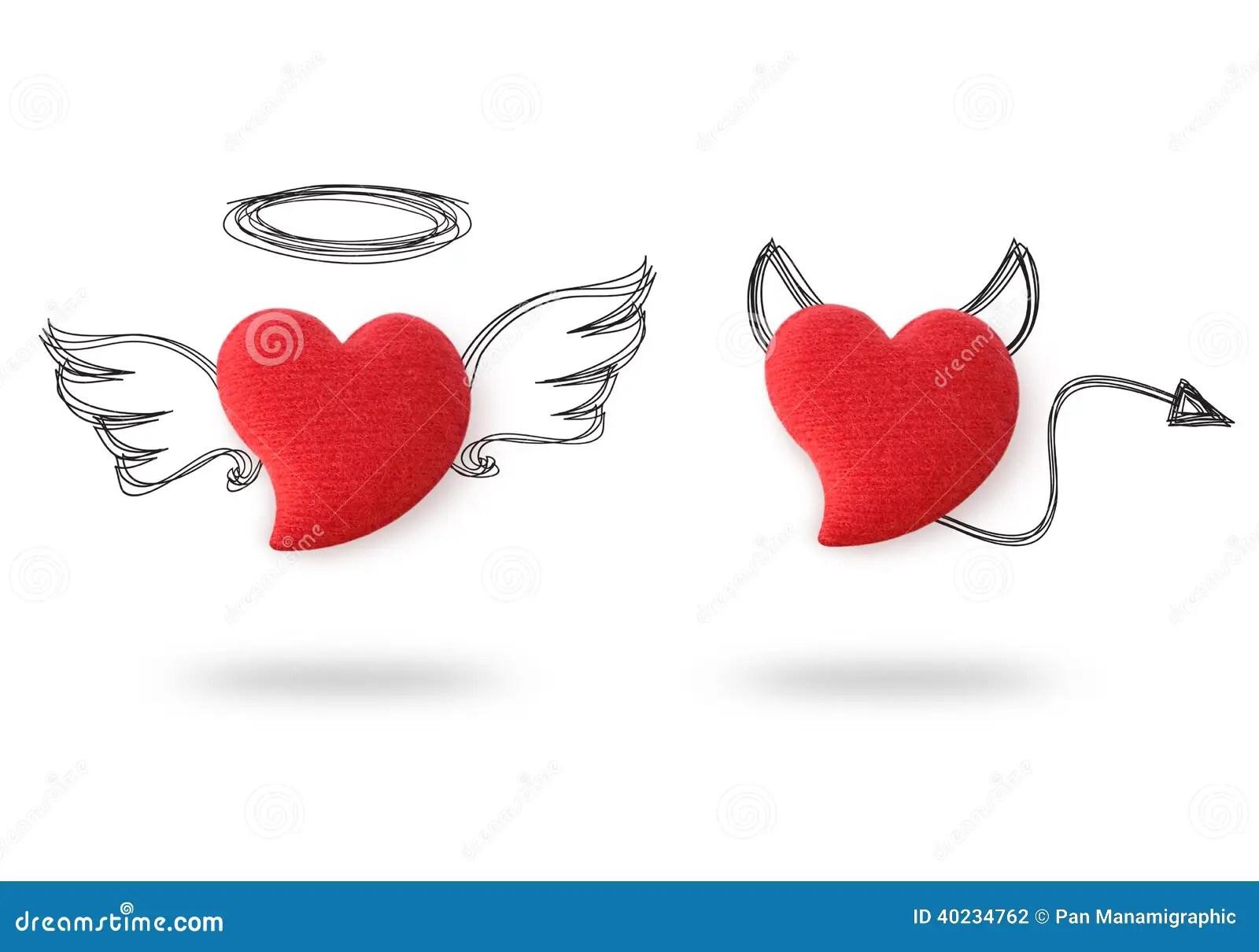Angel And Devil Hearts Stock Illustration Image Of Black