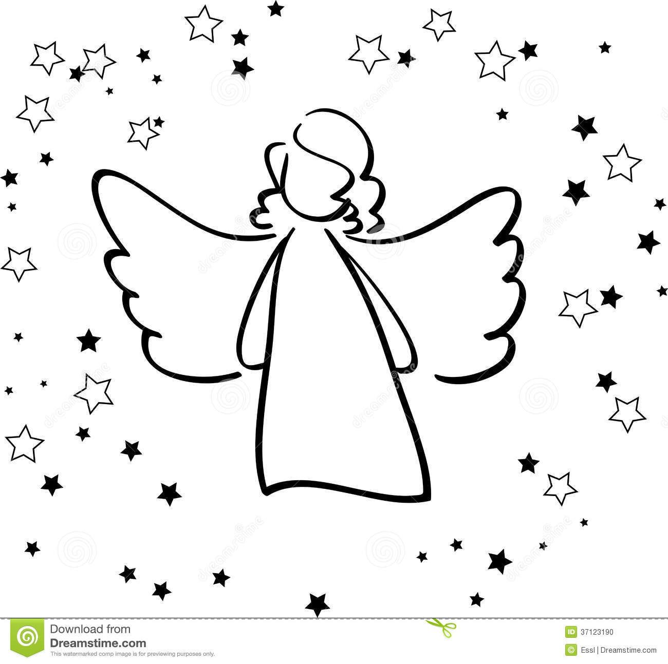 Angel And Stars Stock Vector Illustration Of Greetings