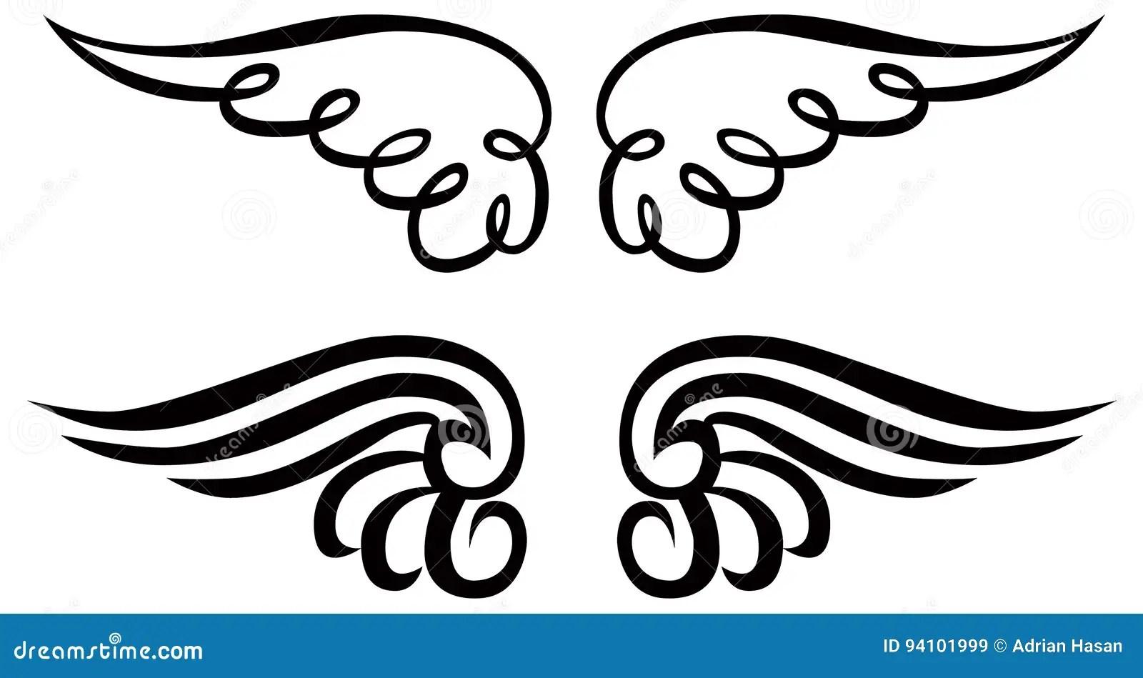 Angel Wings Ornament Clip Art Vector Line Art Stock