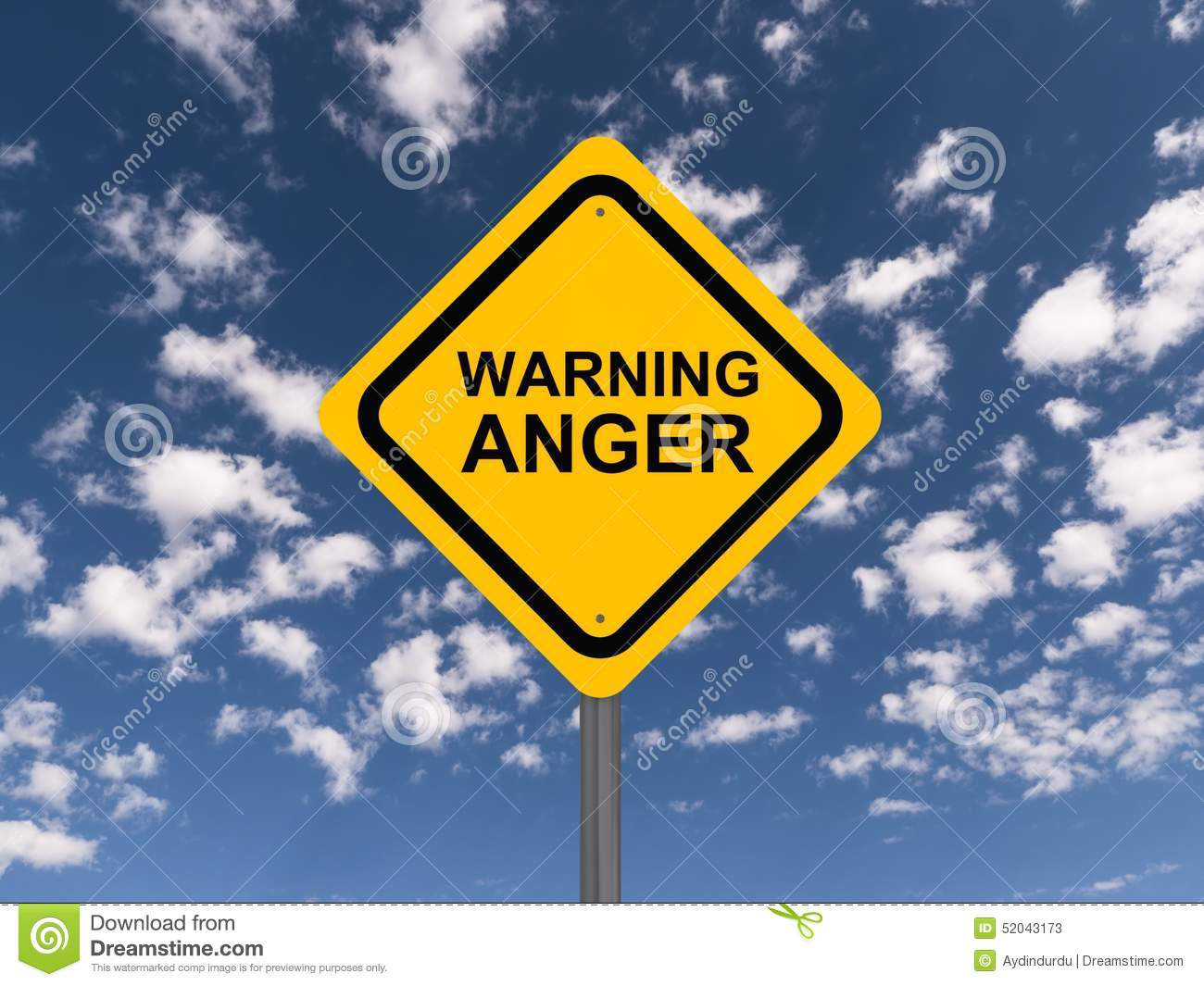 Anger Warning Sign Stock Photo