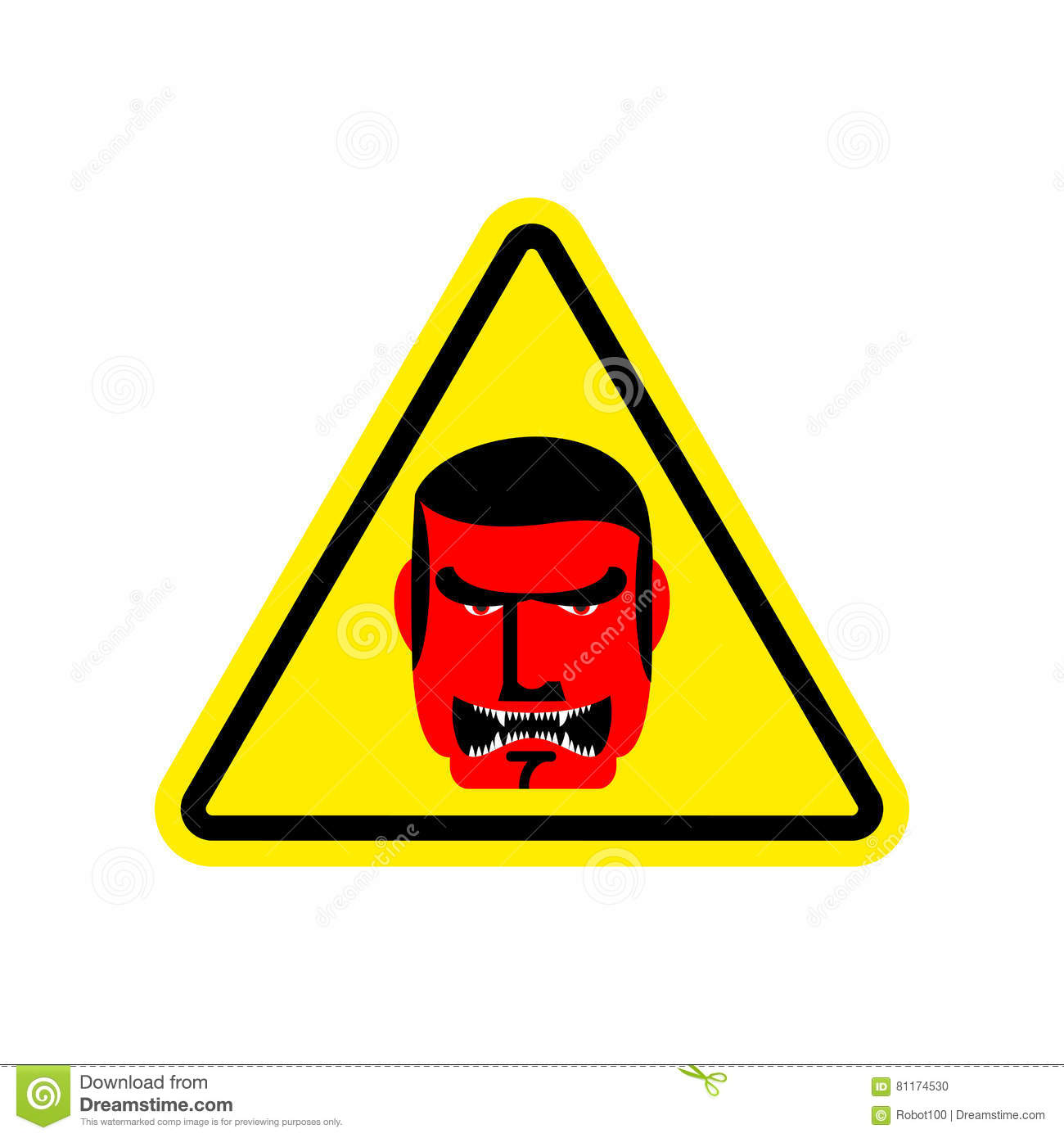 Angry Boss Warning Sign Yellow Evil Head Hazard Attention
