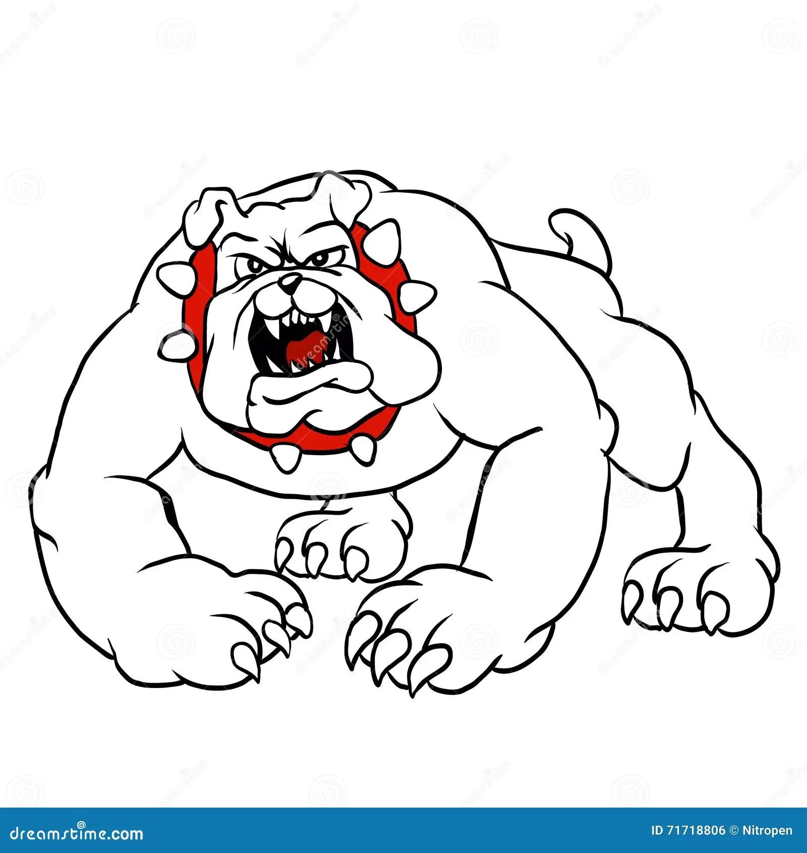 Angry Bulldog Head Circle Cartoon Vector Illustration