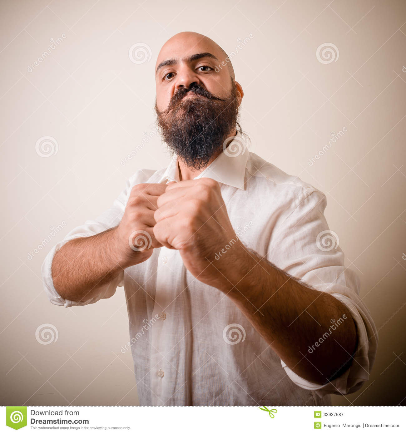 Angry Fighter Long Beard And Mustache Man Royalty Free