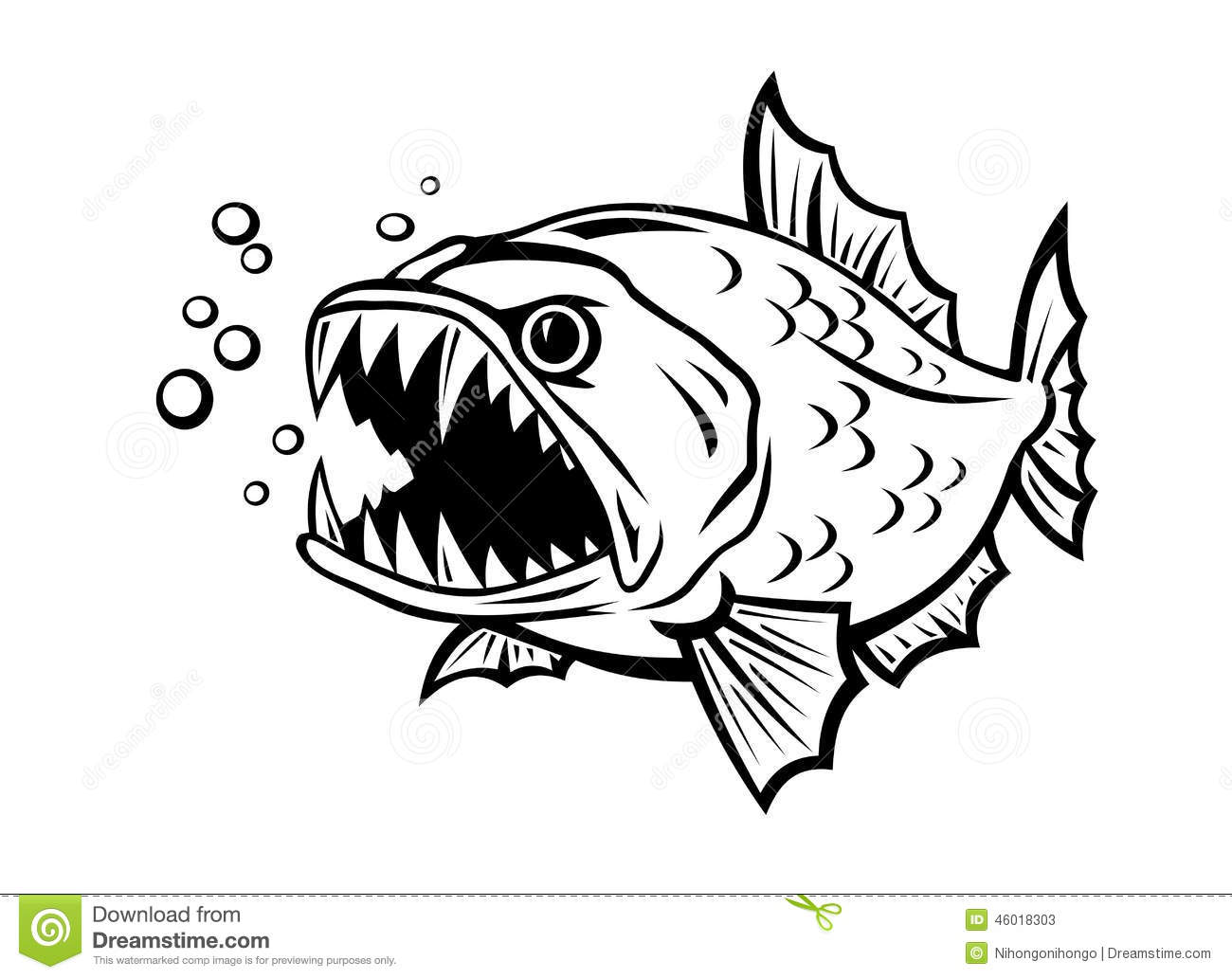 Angry Fish Stock Vector Illustration Of Icon Isolated
