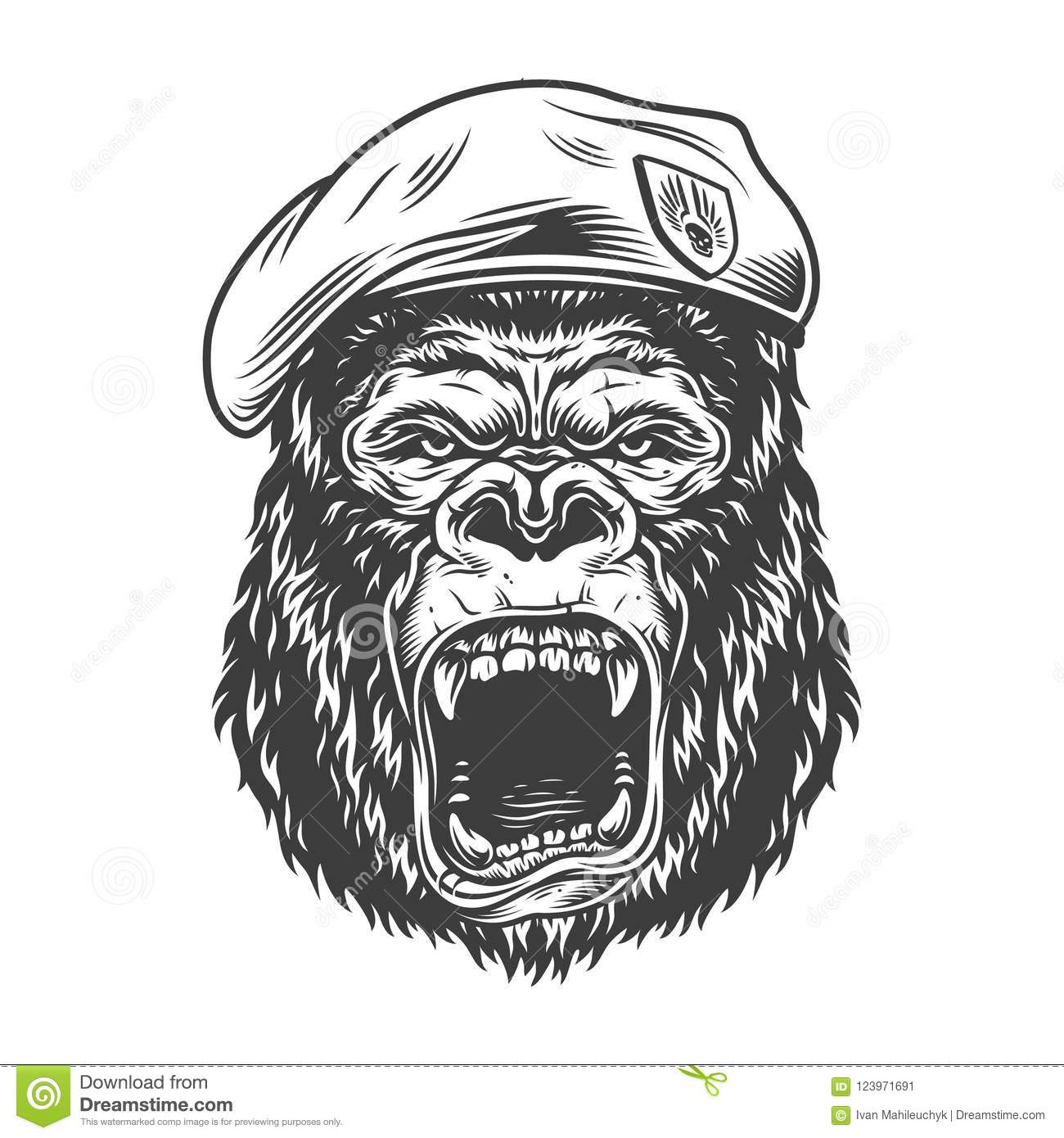 Angry Gorilla In Monochrome Style Stock Vector