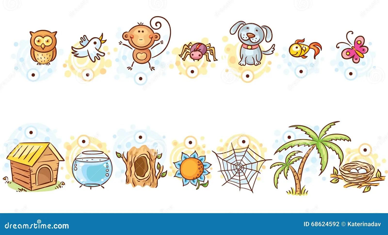 Animais E Seu Jogo De Harmonizacao Das Casas Ilustracao Do