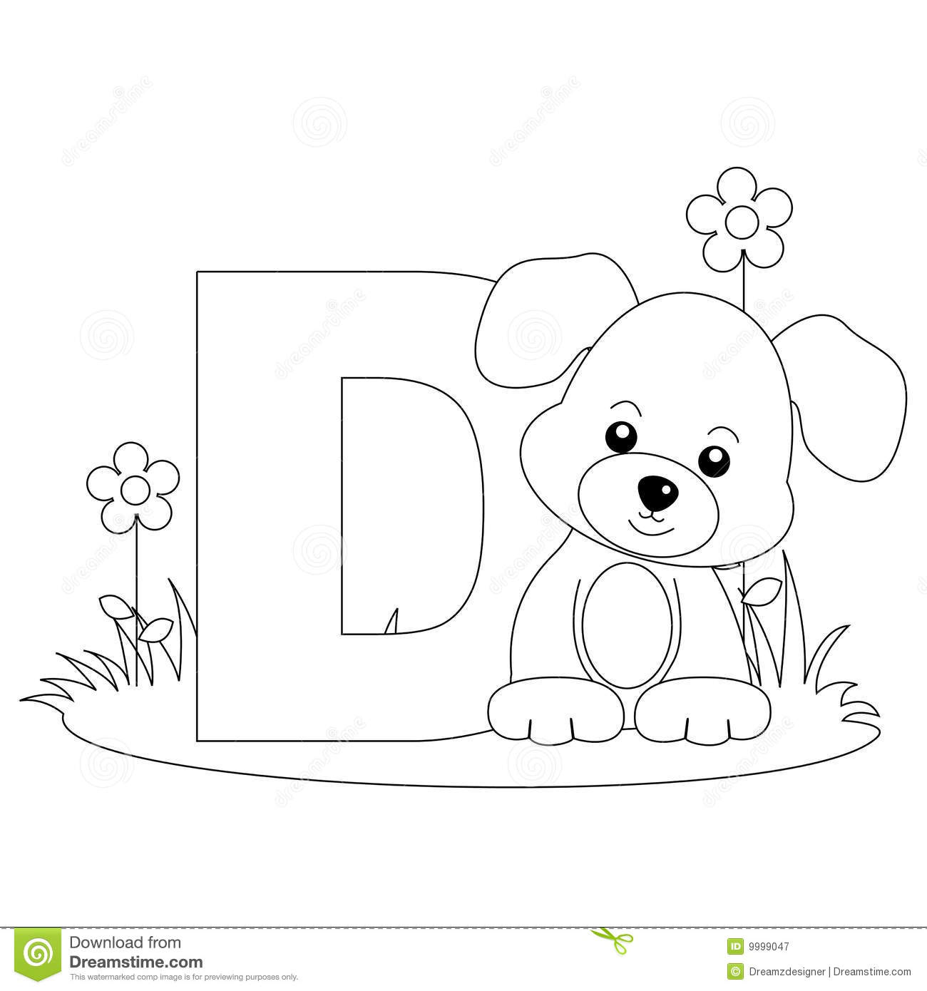 animal alphabet d coloring page royalty free stock photography