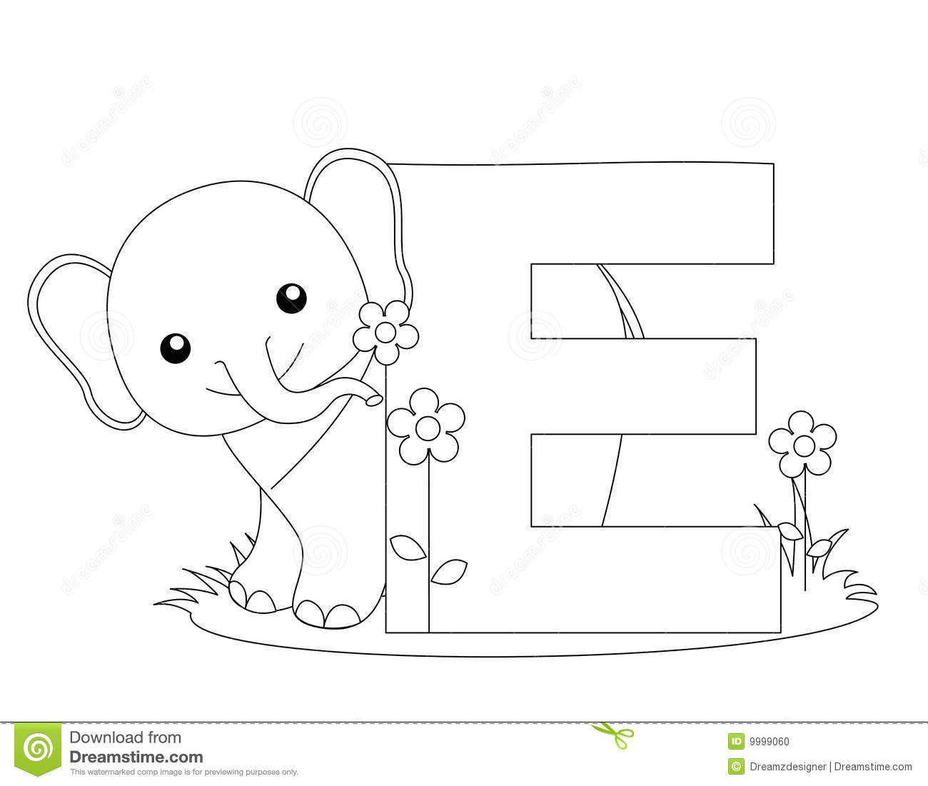 Animal Alphabet E Coloring Page Stock Vector