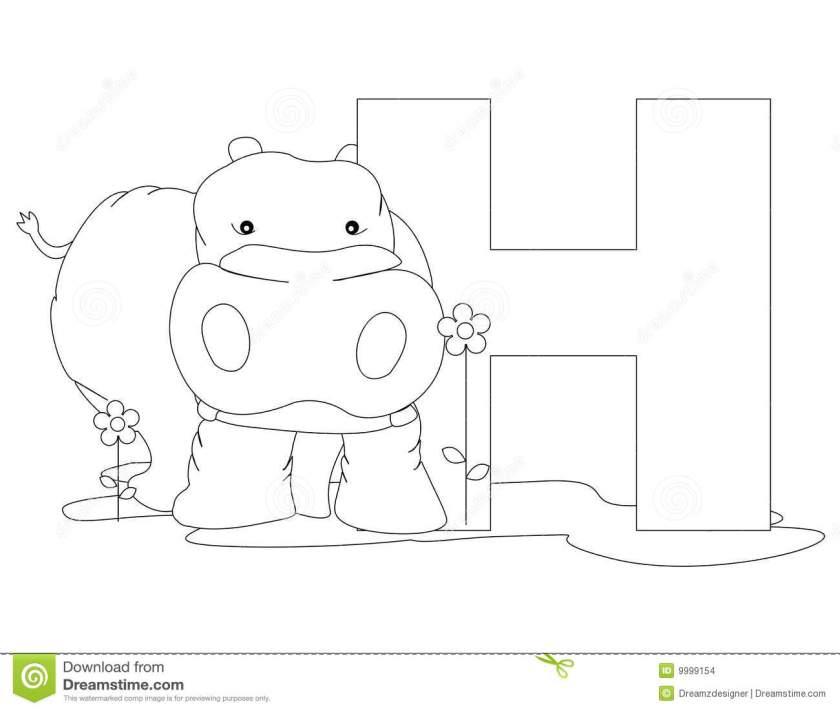 animal alphabet h coloring page stock images  image 9999154