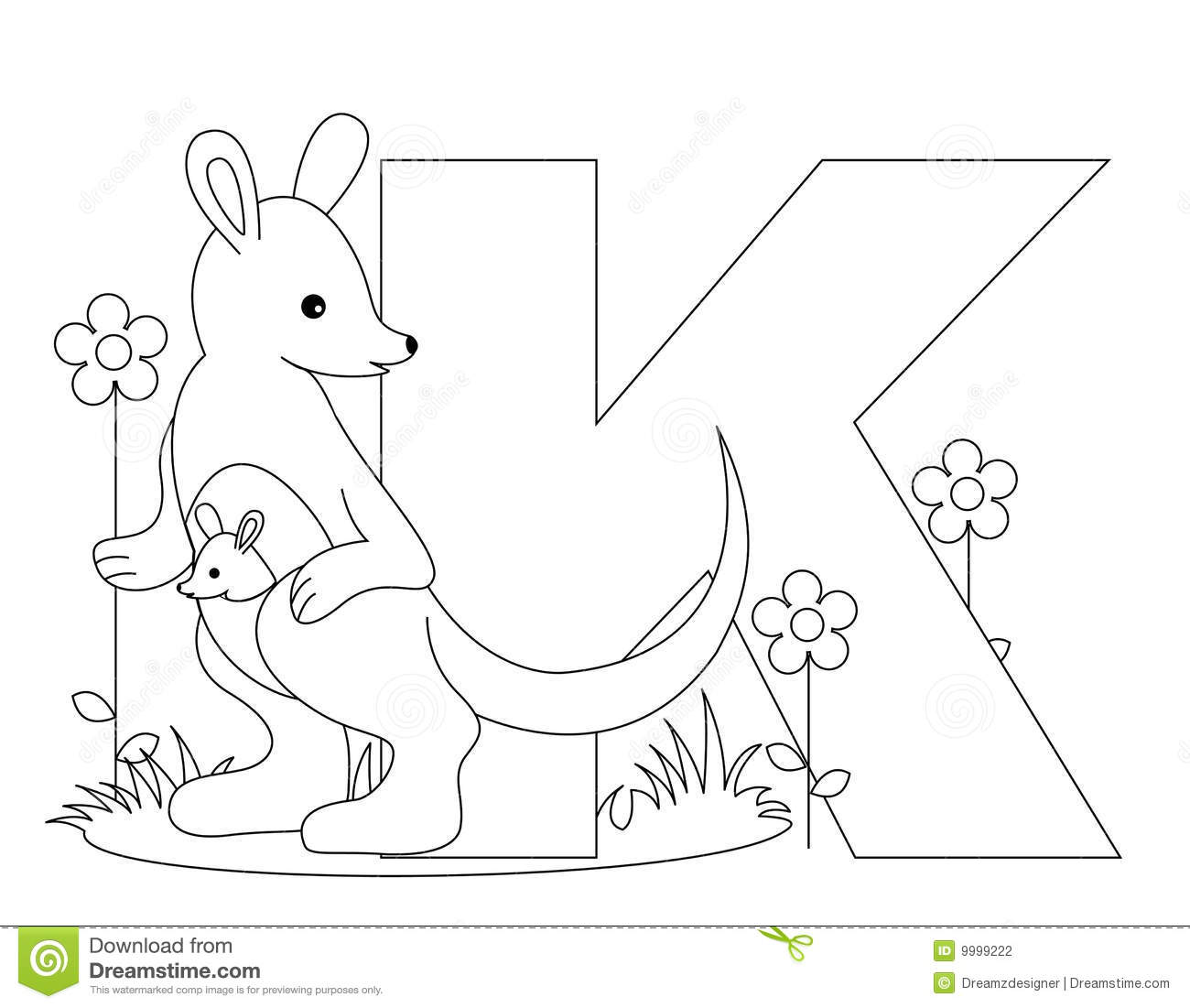 Animal Alphabet K Coloring Page Stock Photography