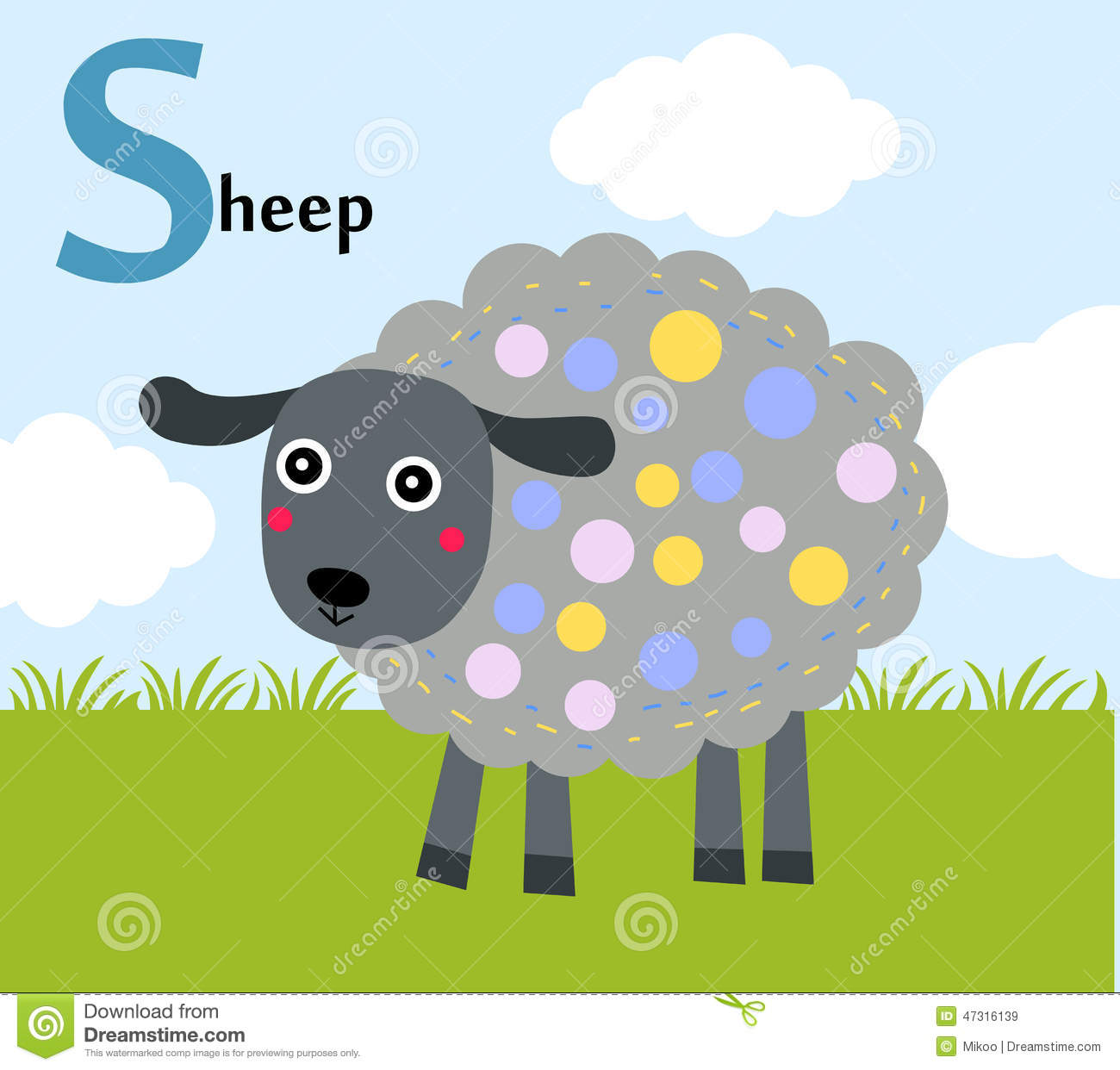 Animal Alphabet For The Kids S For The Sheep Stock Vector