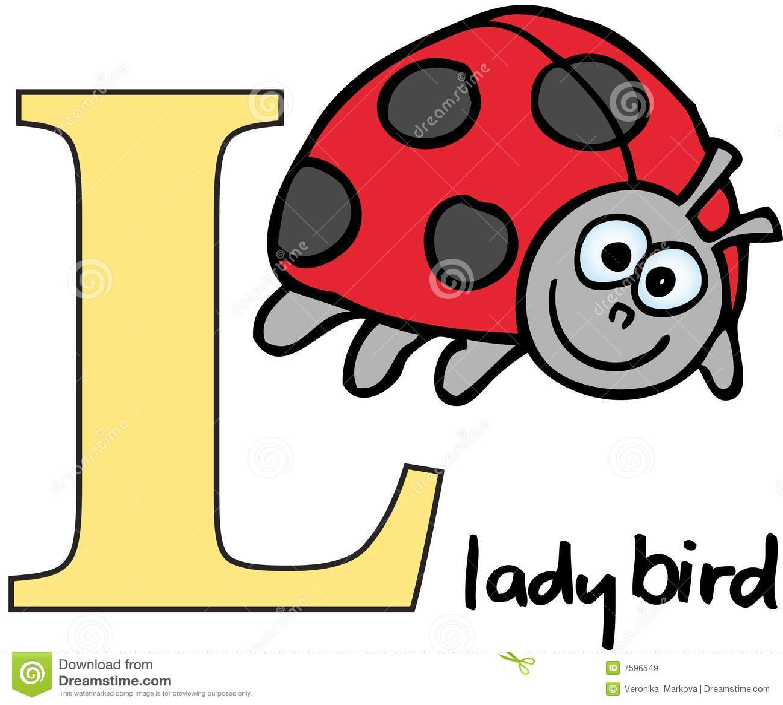 Animal Alphabet L Ladybird Stock Vector
