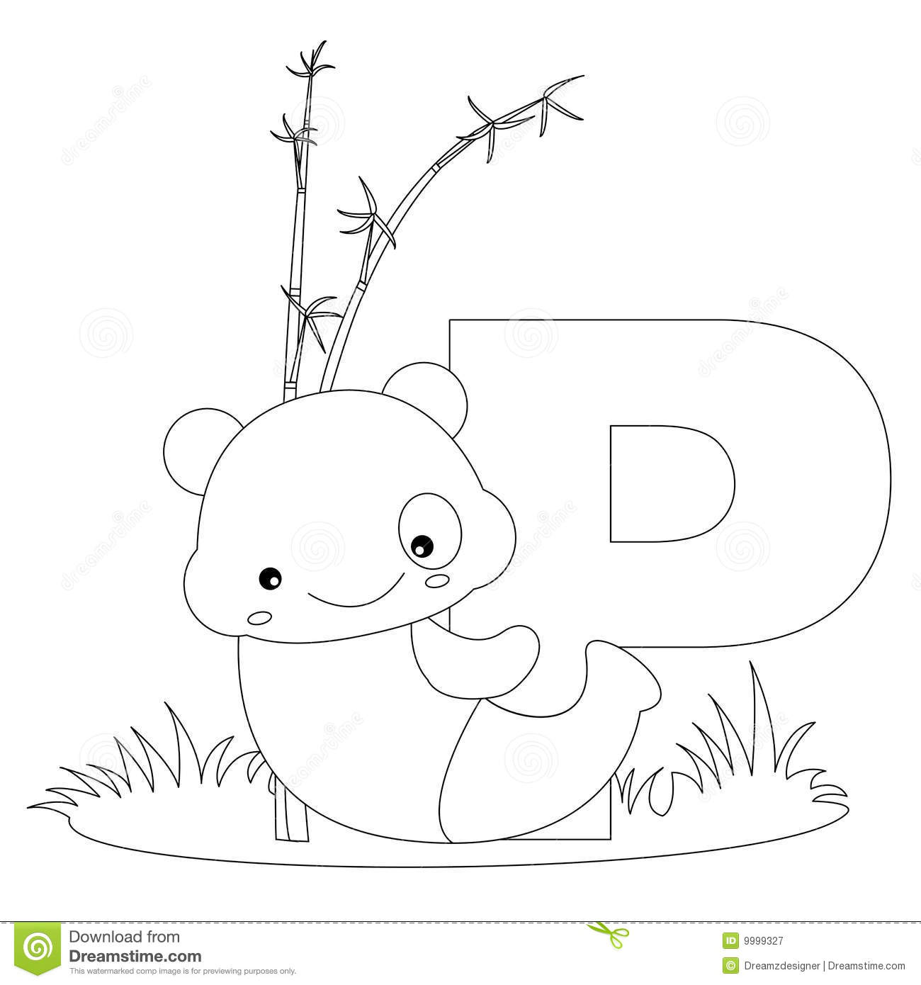 Animal Alphabet P Coloring Page Stock Vector