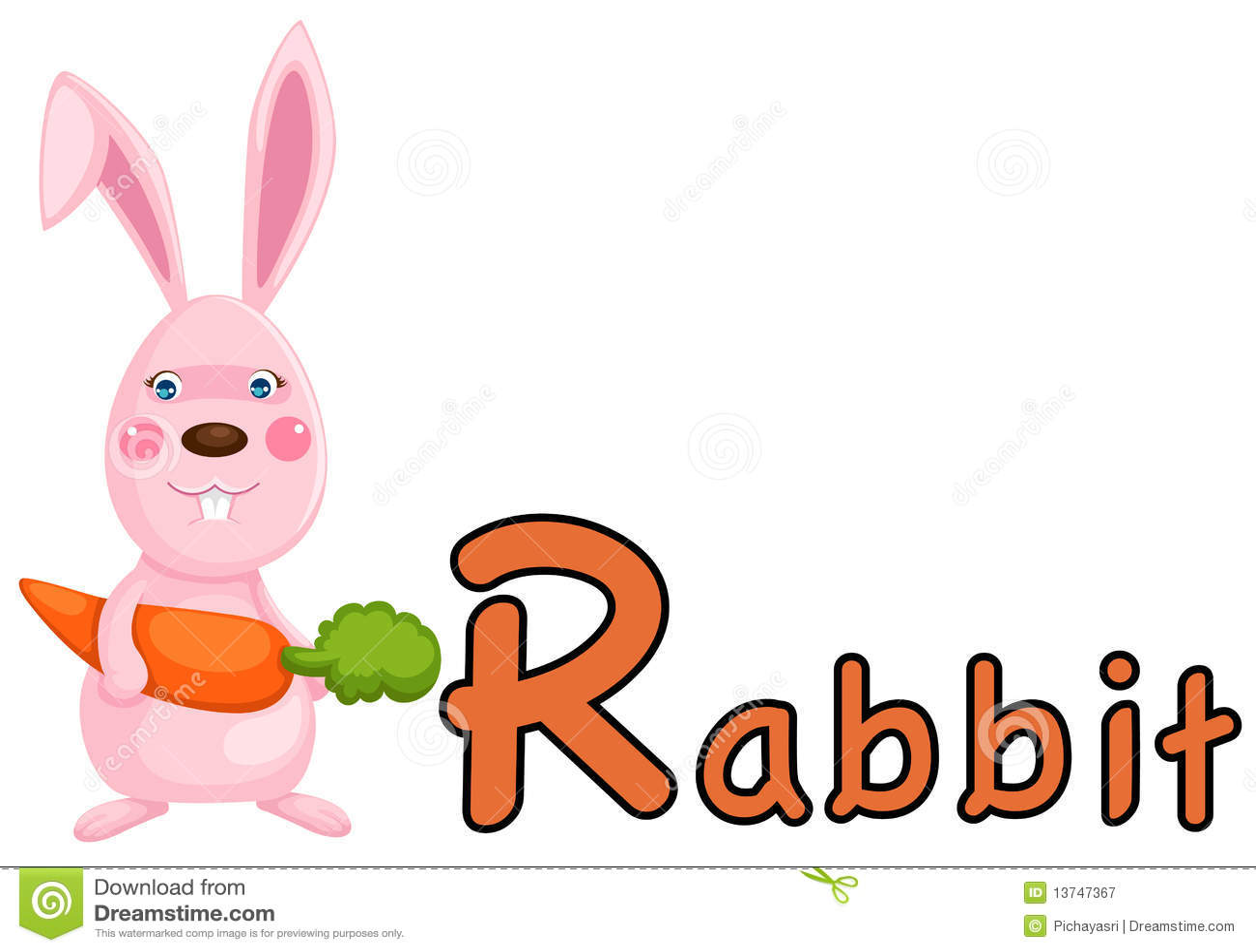 Animal Alphabet R For Rabbit Royalty Free Stock Photography