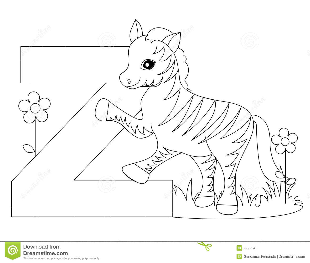Animal Alphabet Z Coloring Page Stock Vector
