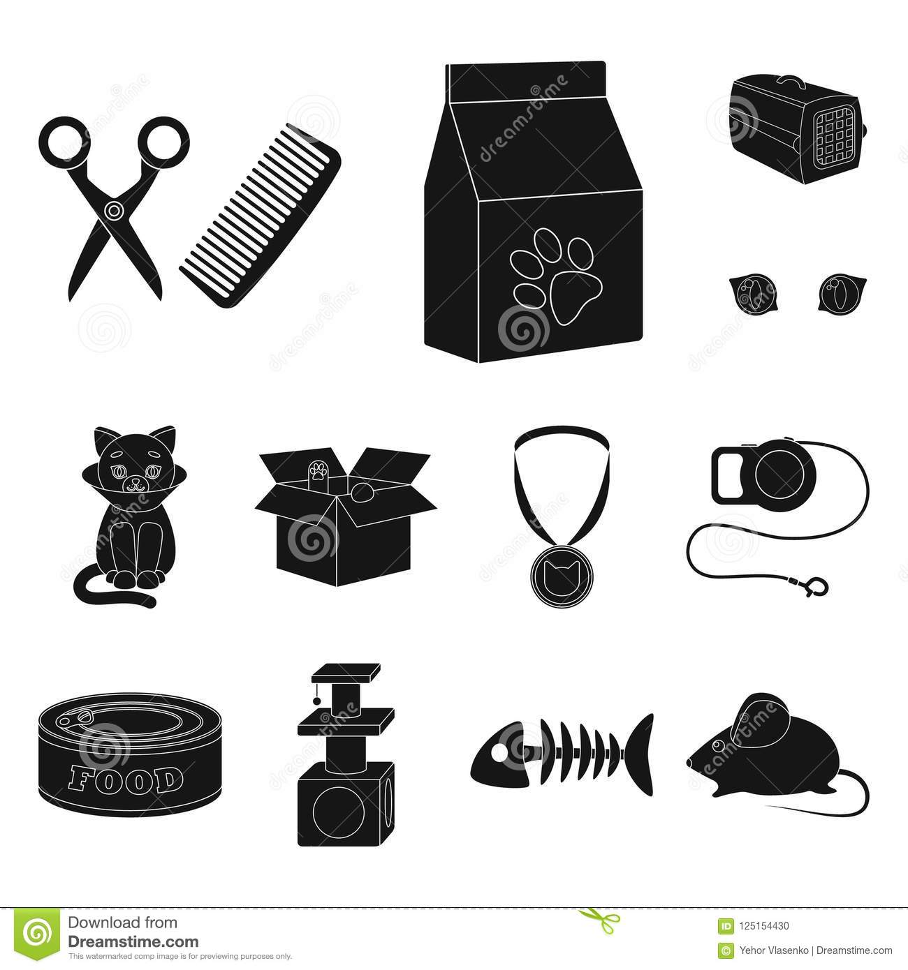 An Animal Cat Black Icons In Set Collection For Design