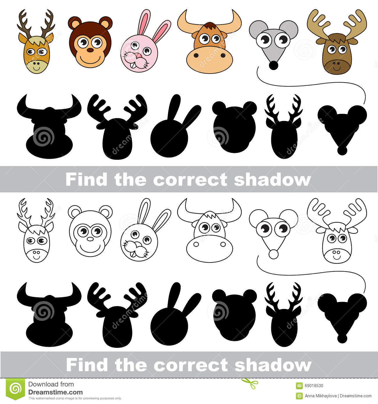 Animal Collection Find Correct Shadow Stock Vector