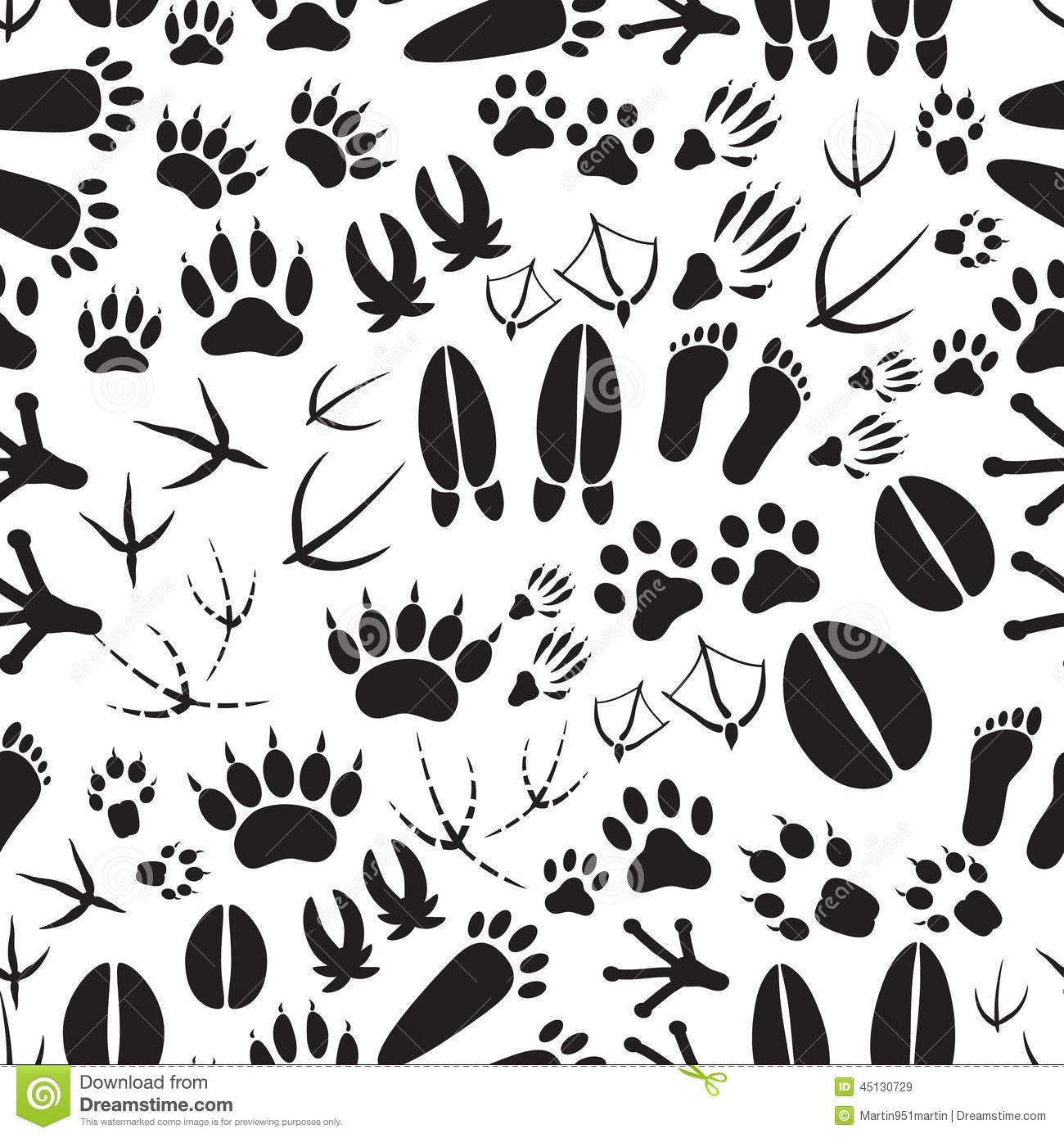 Animal Footprints Black And White Seamless Pattern Stock